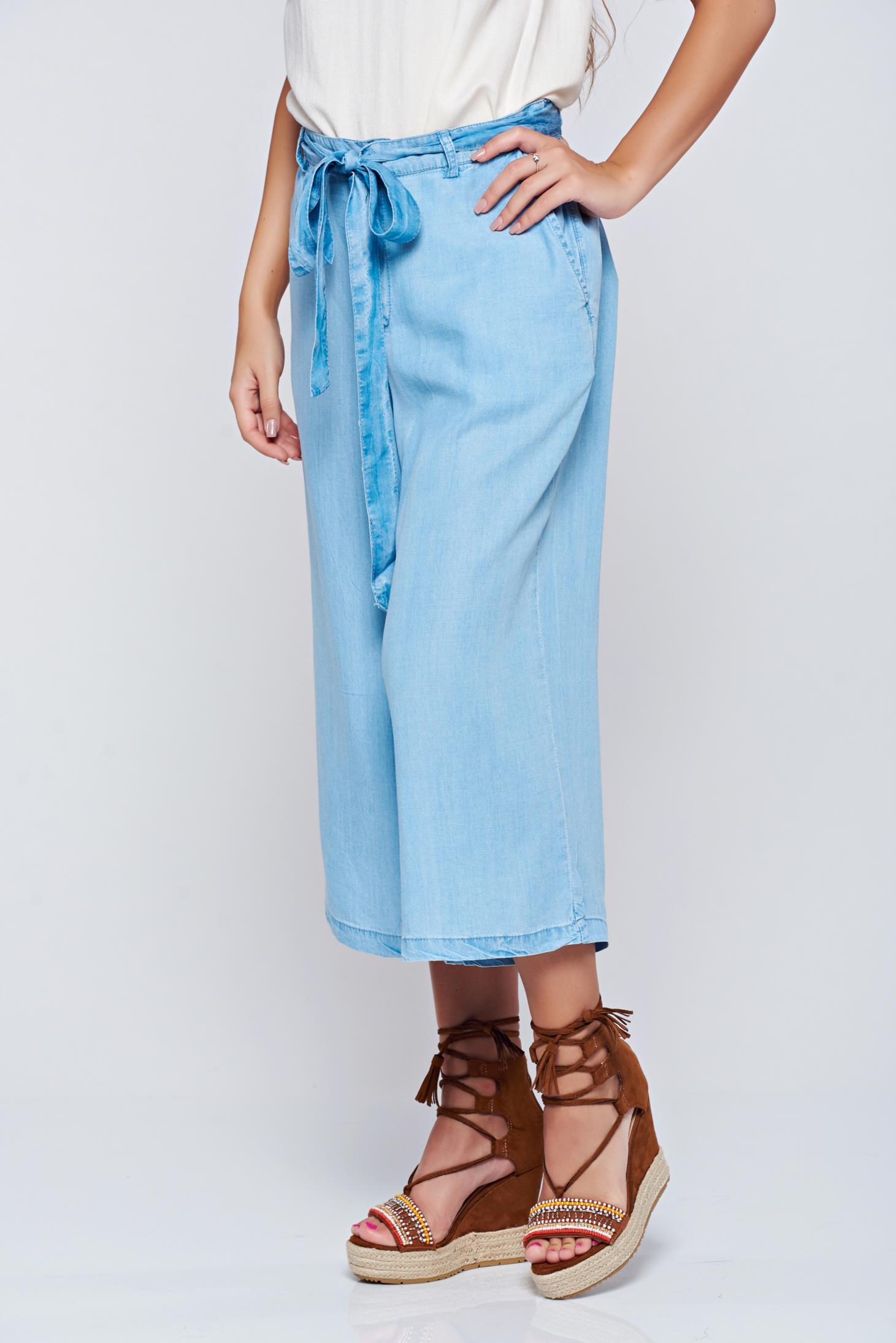 Pantaloni Top Secret albastri casual 3/4 cu talie medie