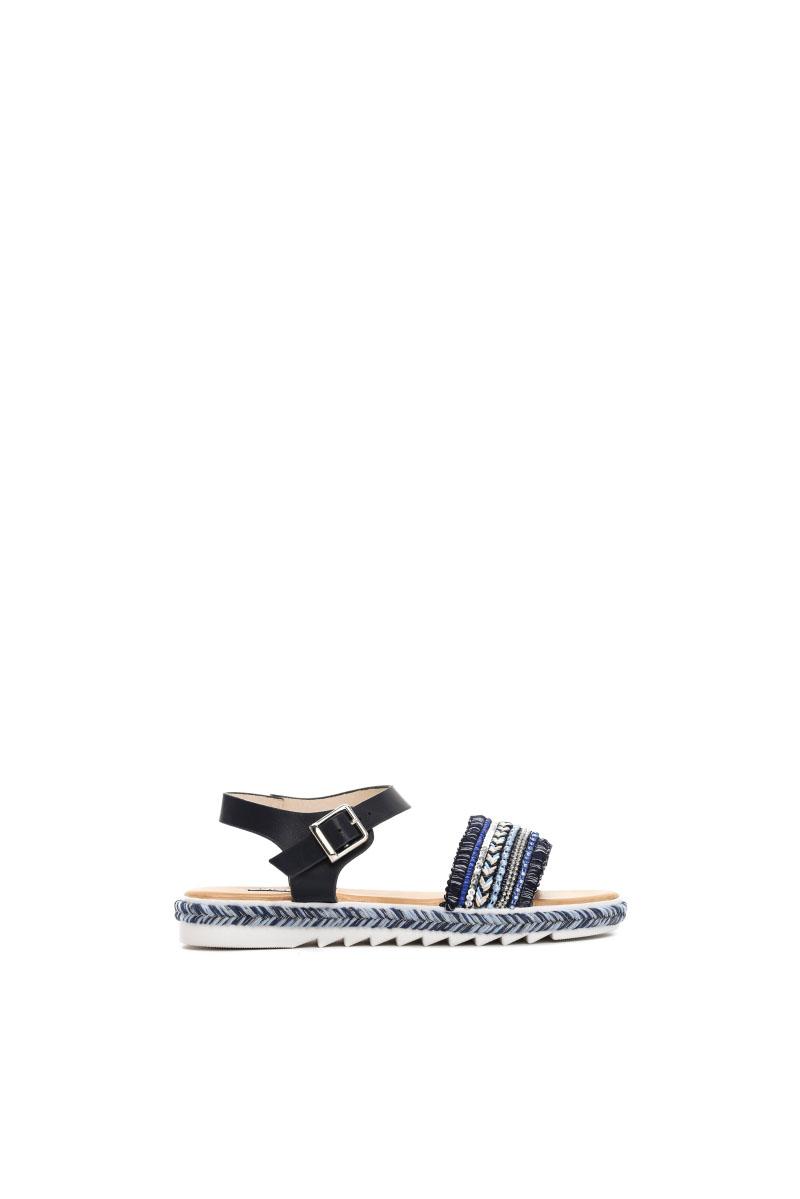 Sandale cu aplicatii cu margele albastru-inchis accesorizata cu o catarama metalica