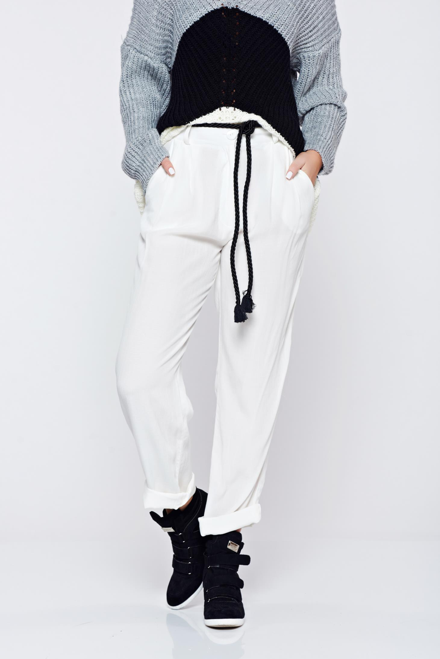 Pantaloni PrettyGirl albi casual cu croi larg cu buzunare