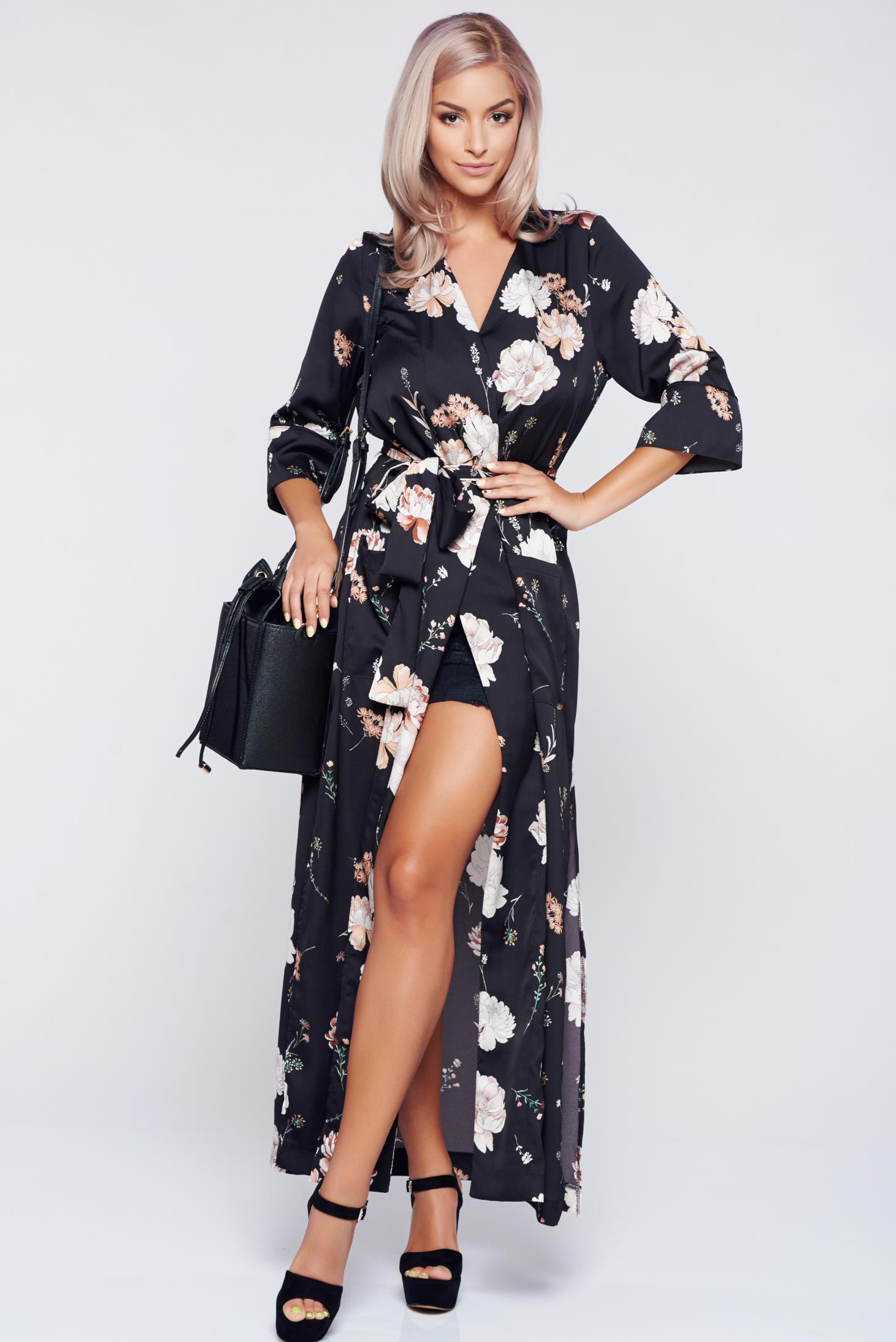 Rochie tip kimono PrettyGirl neagra cu croi larg accesorizata cu cordon