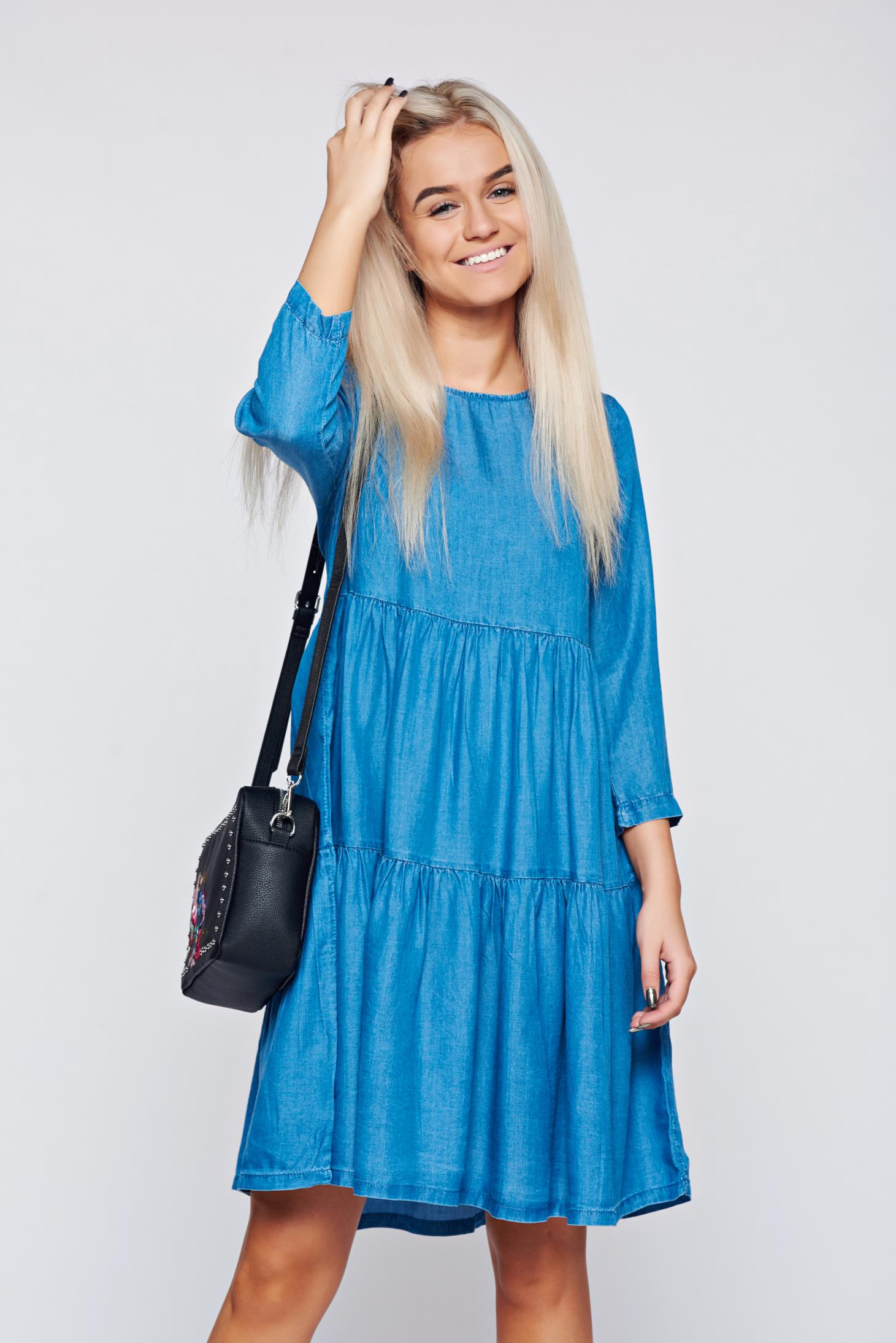 Rochie Top Secret albastra casual din denim cu croi larg
