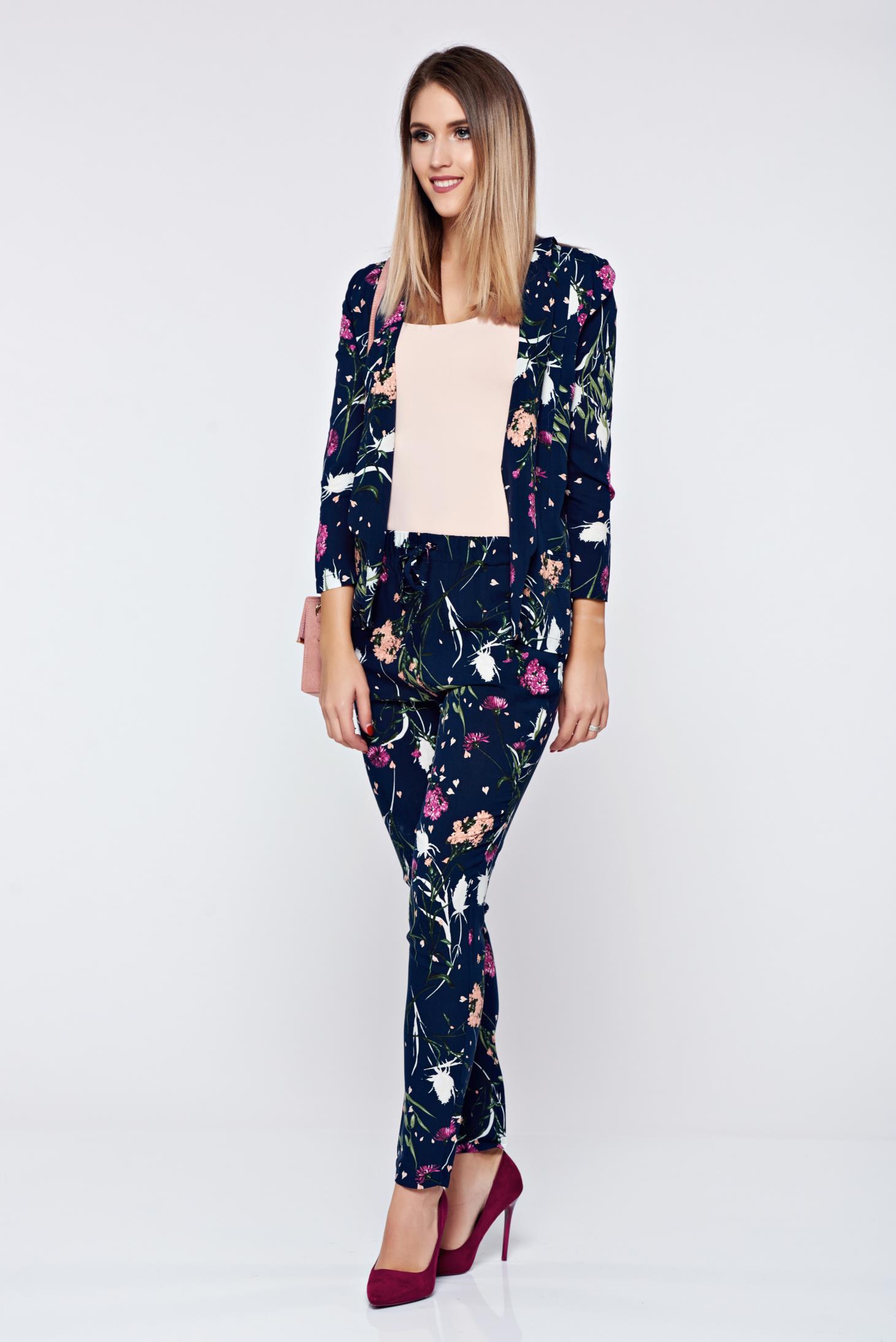 Pantaloni Top Secret negri casual cu talie medie cu imprimeu floral