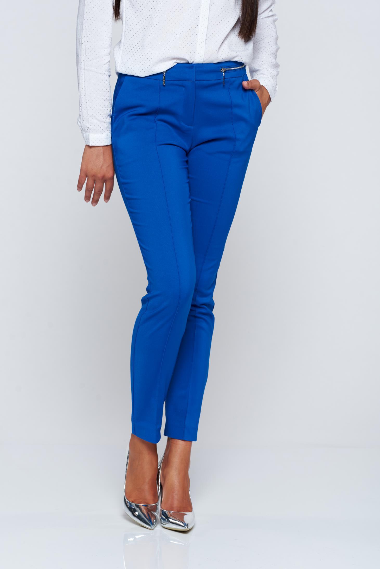 Pantaloni Top Secret albastri office conici cu buzunare