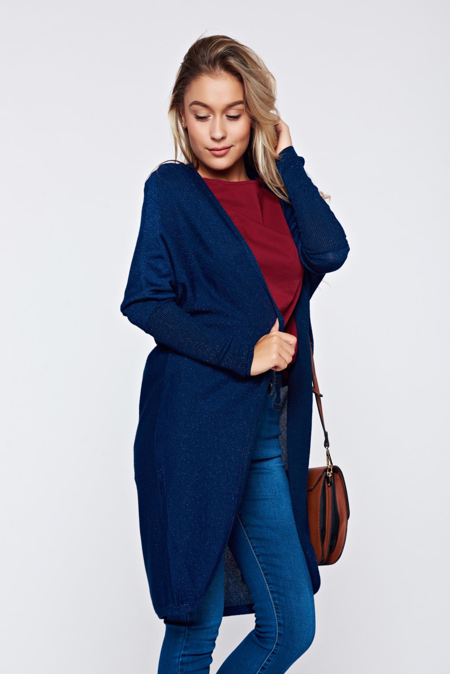 Cardigan Top Secret albastru-inchis casual cu croi larg tricotat