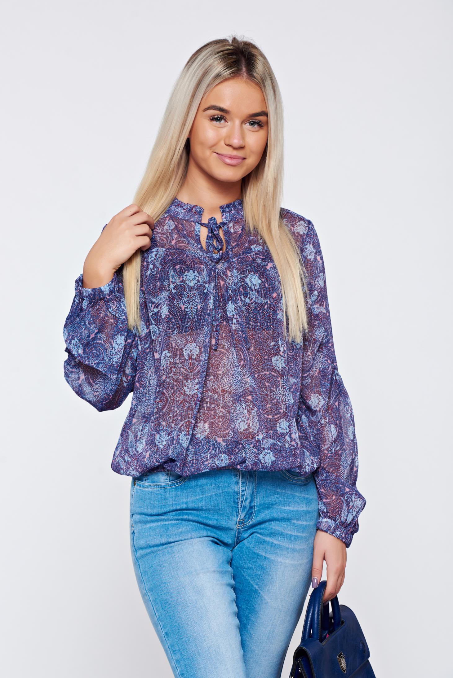 Bluza dama Top Secret lila casual cu maneca lunga cu imprimeu floral