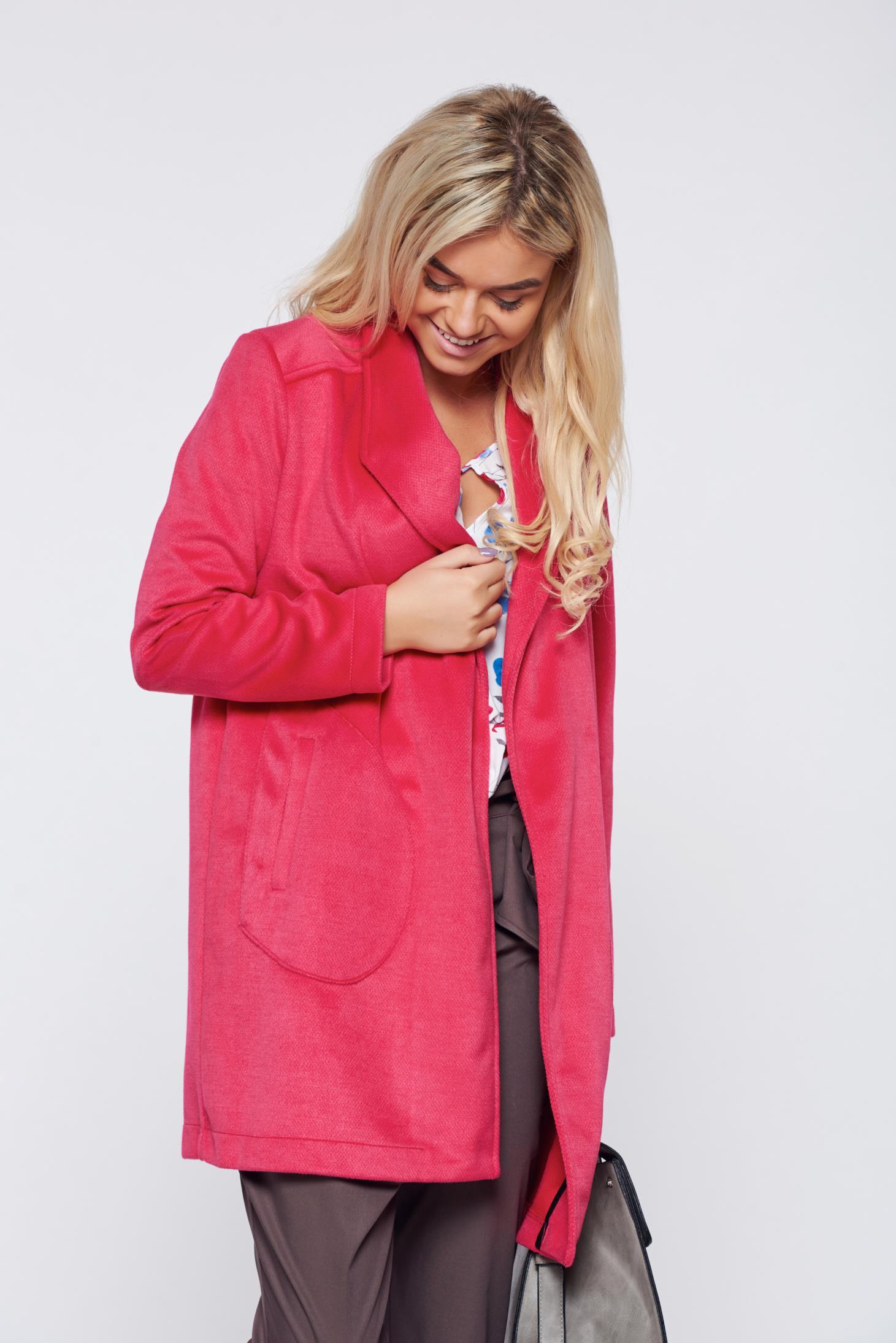 Palton Top Secret corai elegant cu croi larg cu buzunare