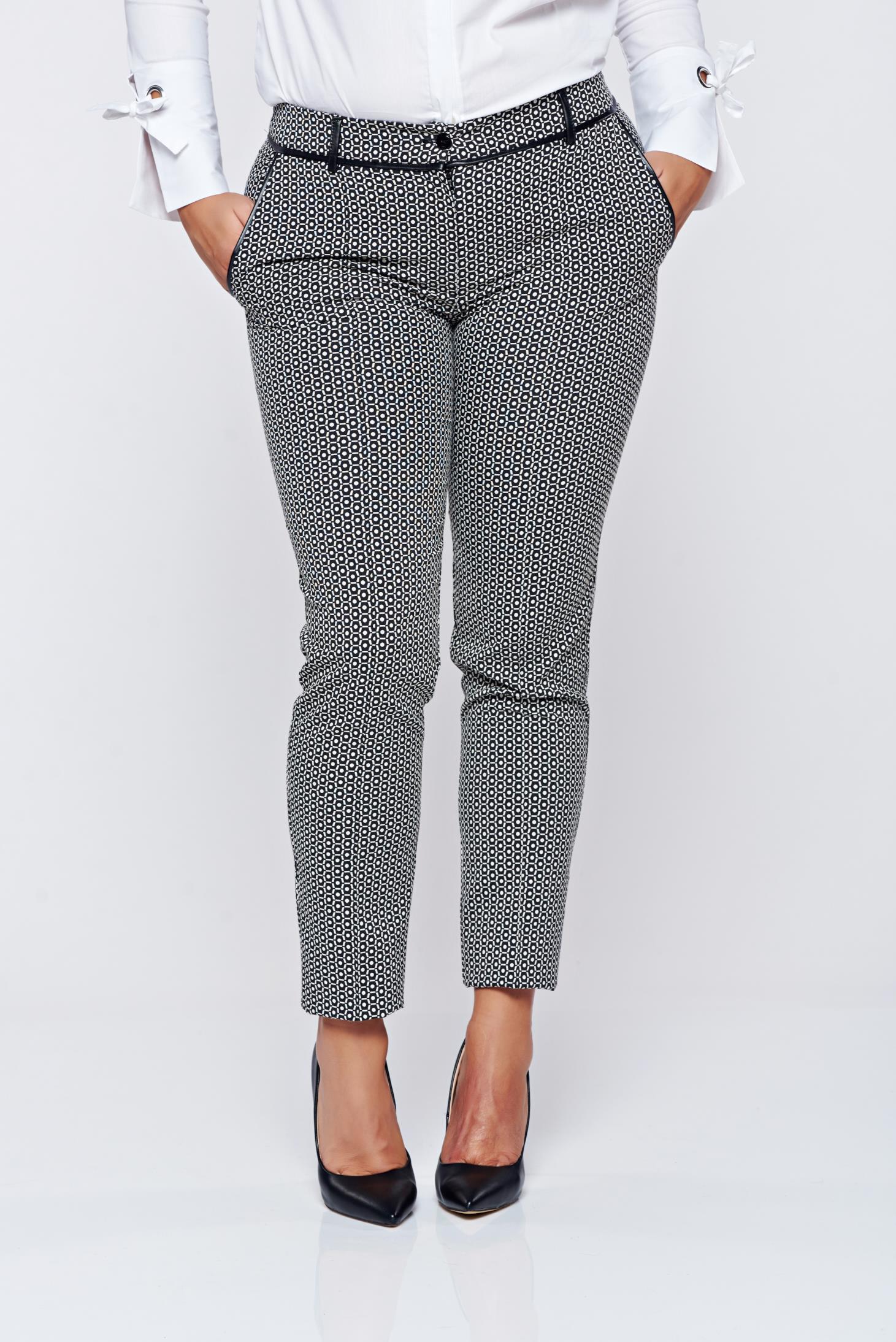 Pantaloni LaDonna negri office cu talie medie cu imprimeuri grafice