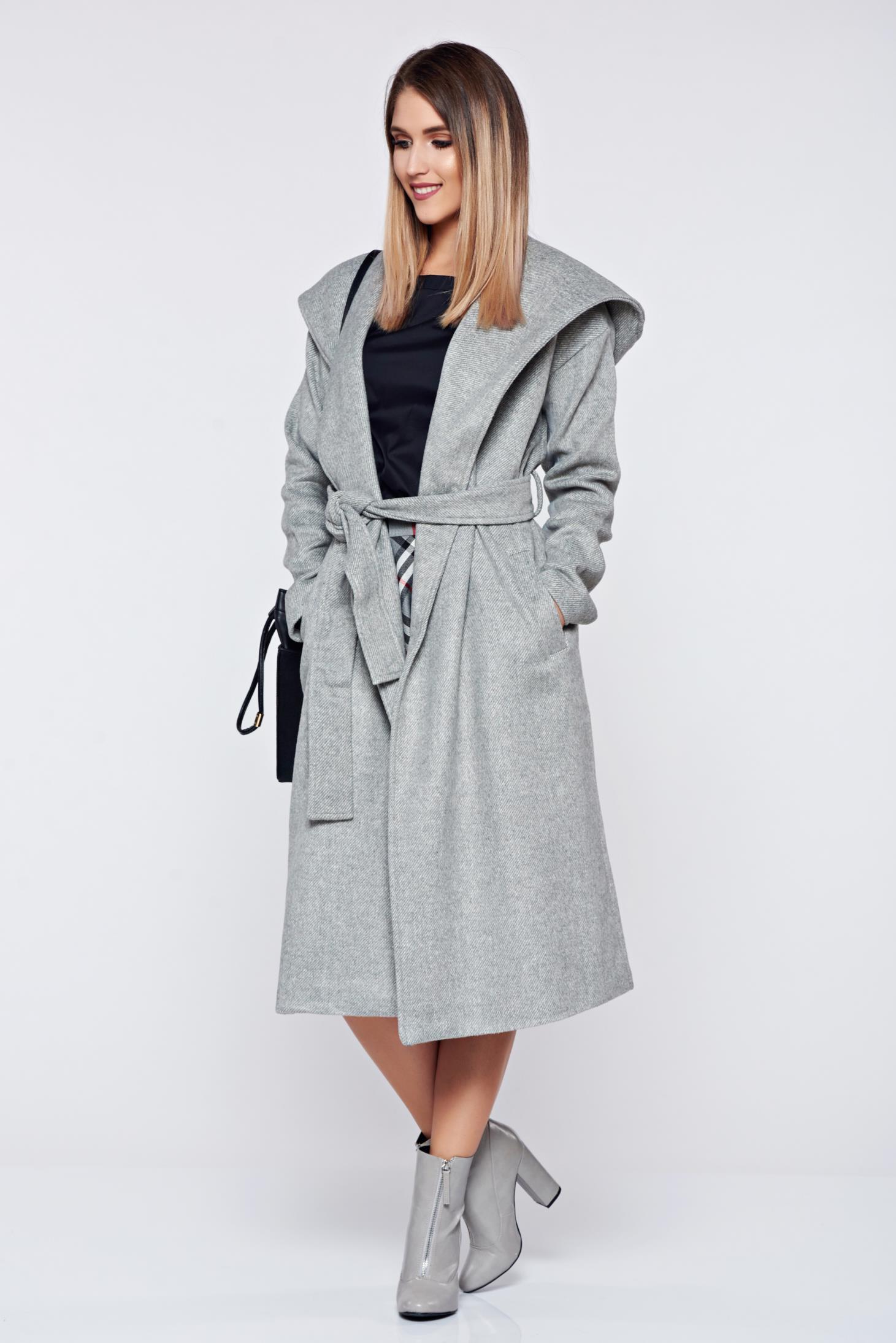 Palton Top Secret gri-deschis casual accesorizat cu cordon