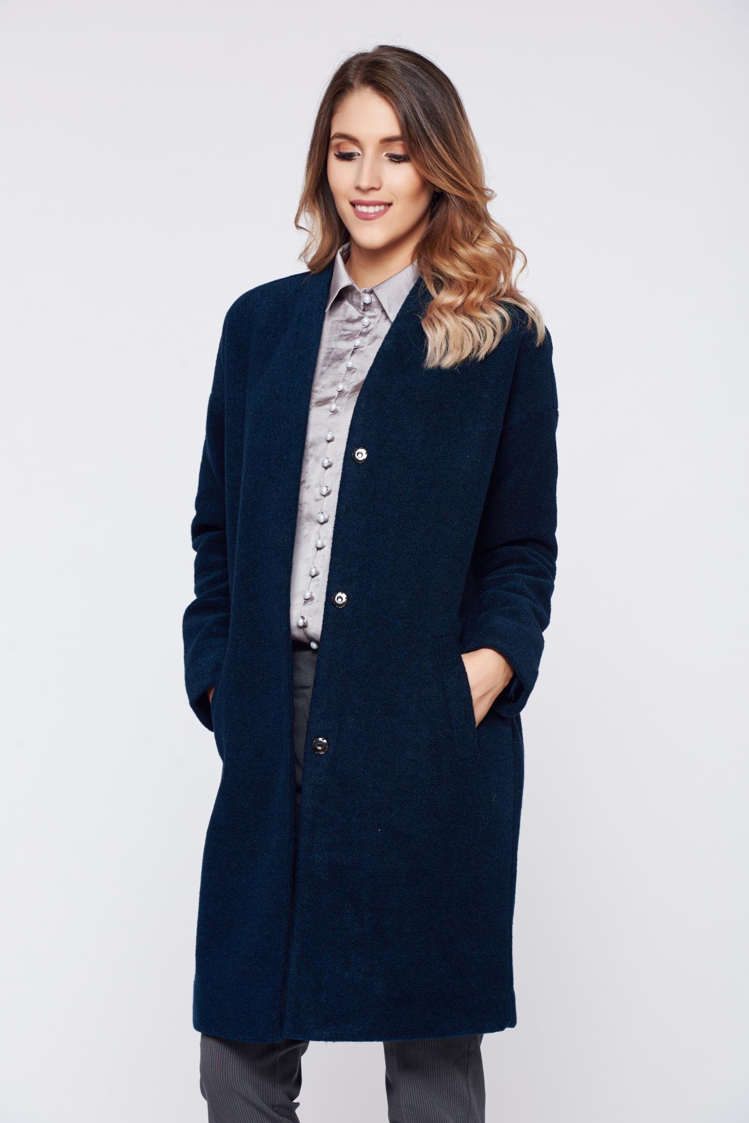 Palton Top Secret albastru-inchis casual cu maneca lunga si croi larg