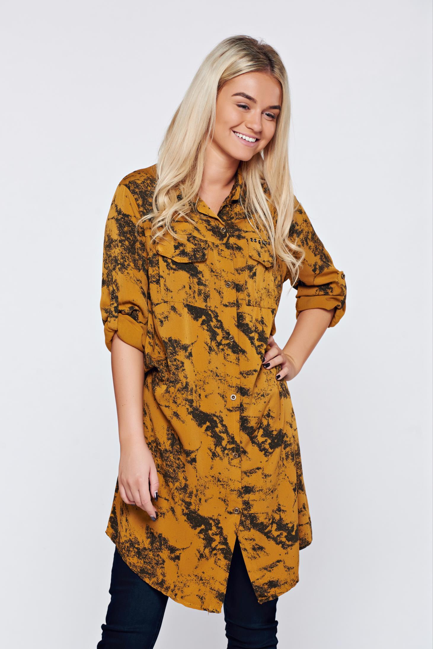 Camasa dama galbena casual cu croi larg cu print