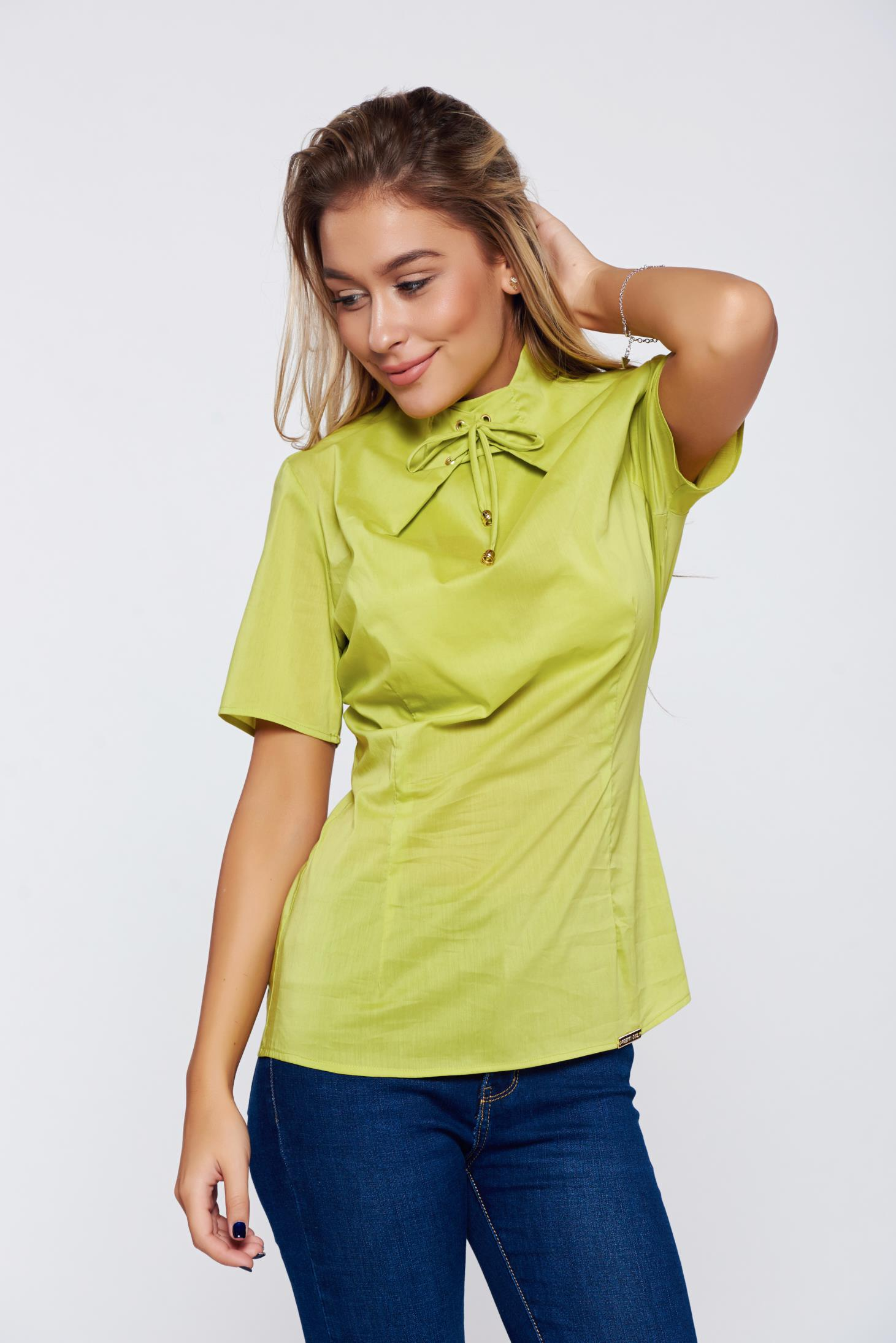 Bluza dama PrettyGirl verde office cu maneca scurta
