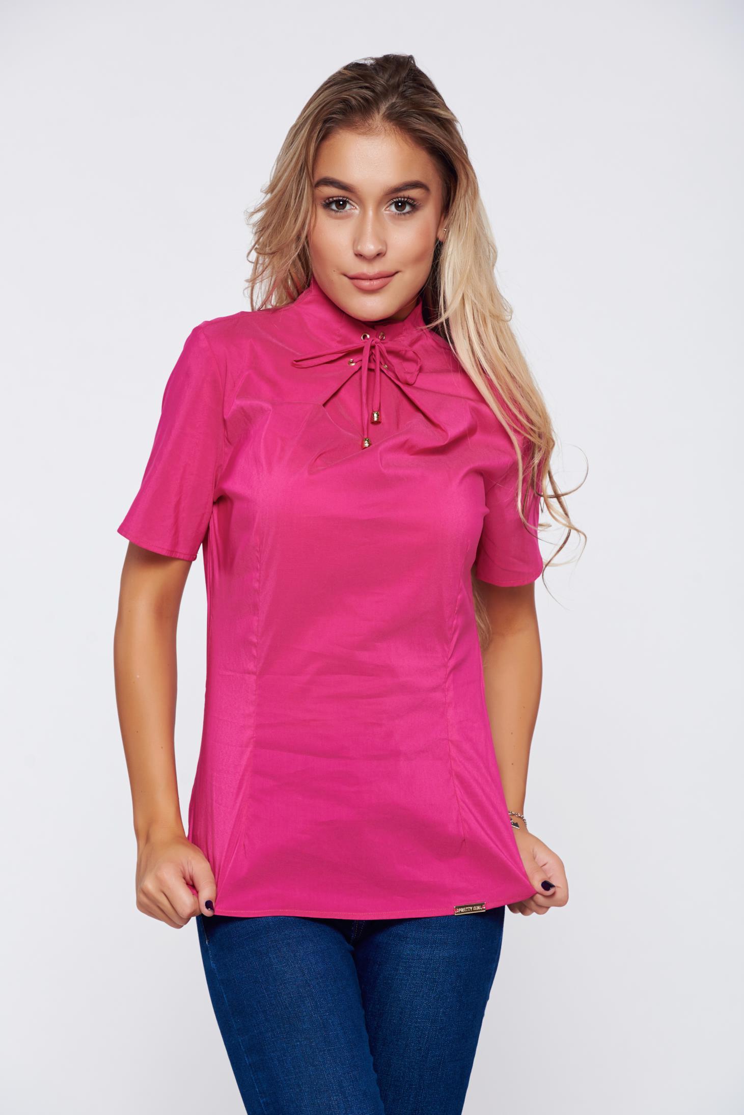 Bluza dama PrettyGirl roz office cu maneca scurta