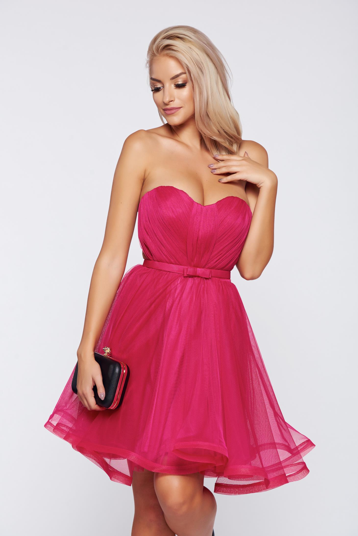Rochie Ana Radu roz de lux tip corset din tul cu bust buretat