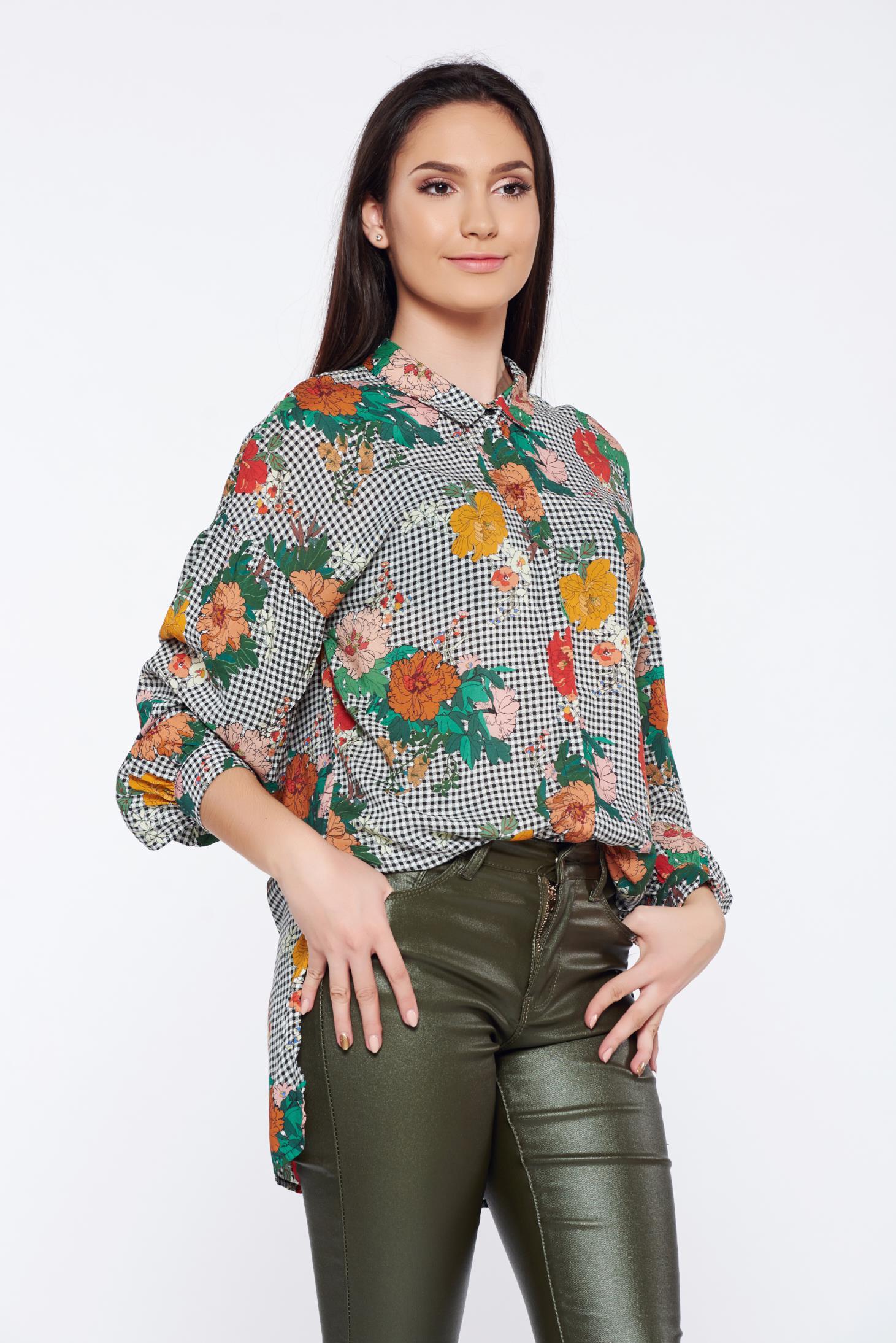 Camasa dama Top Secret alba cu imprimeu floral si carouri casual asimetrica