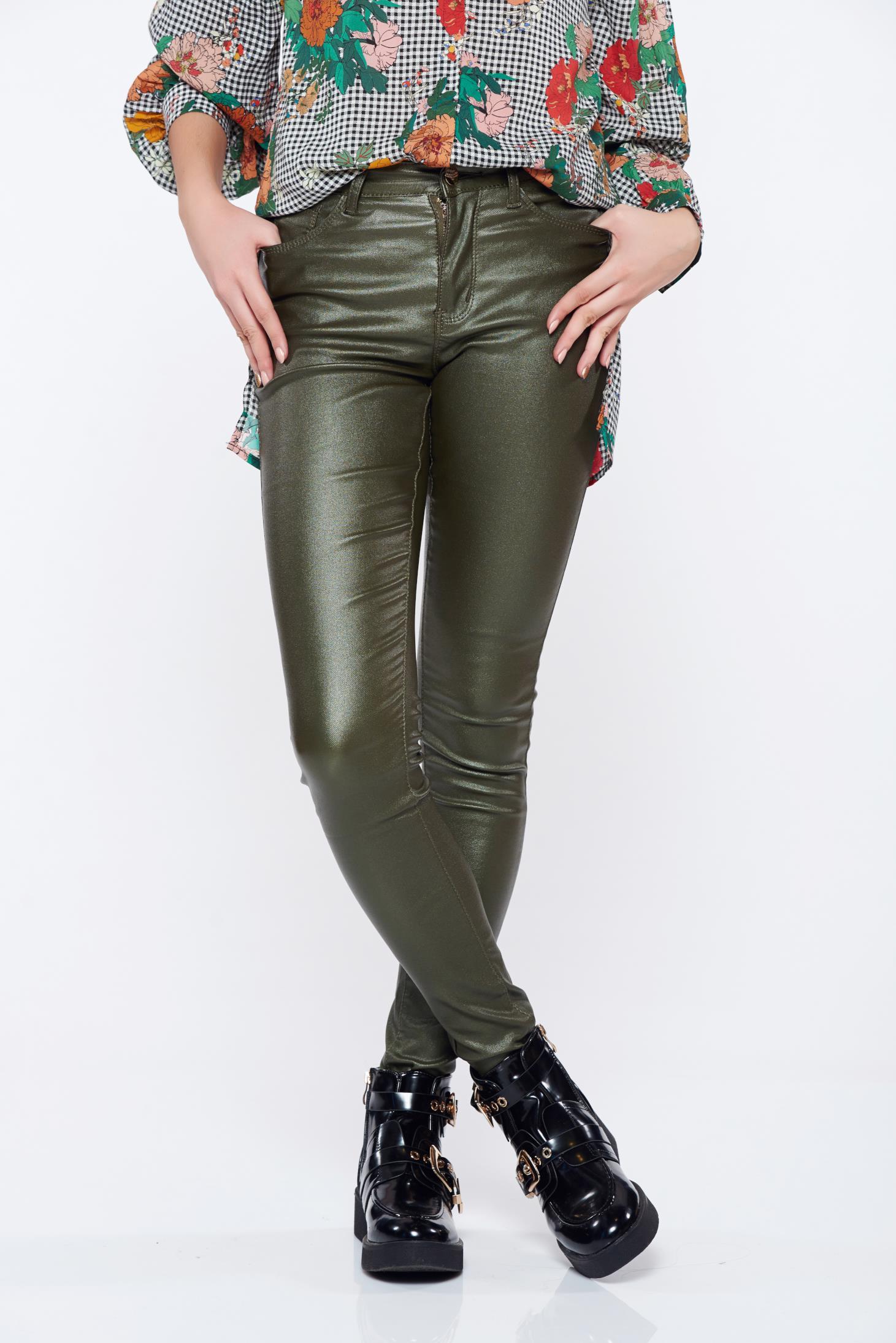 Pantaloni Top Secret khaki casual conici cu talie medie