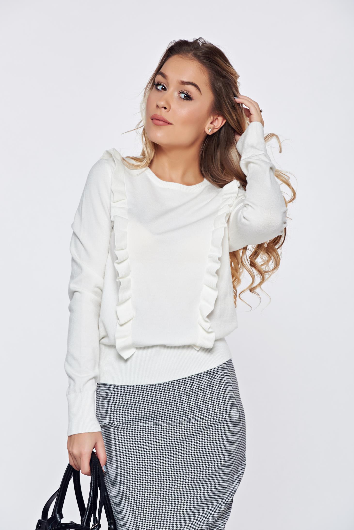 Pulover Top Secret alb casual tricotat cu volanase
