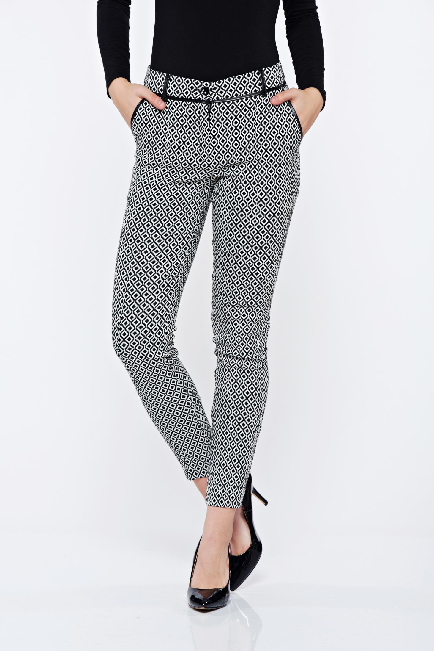 Pantaloni LaDonna albi cu imprimeu geometric office conici