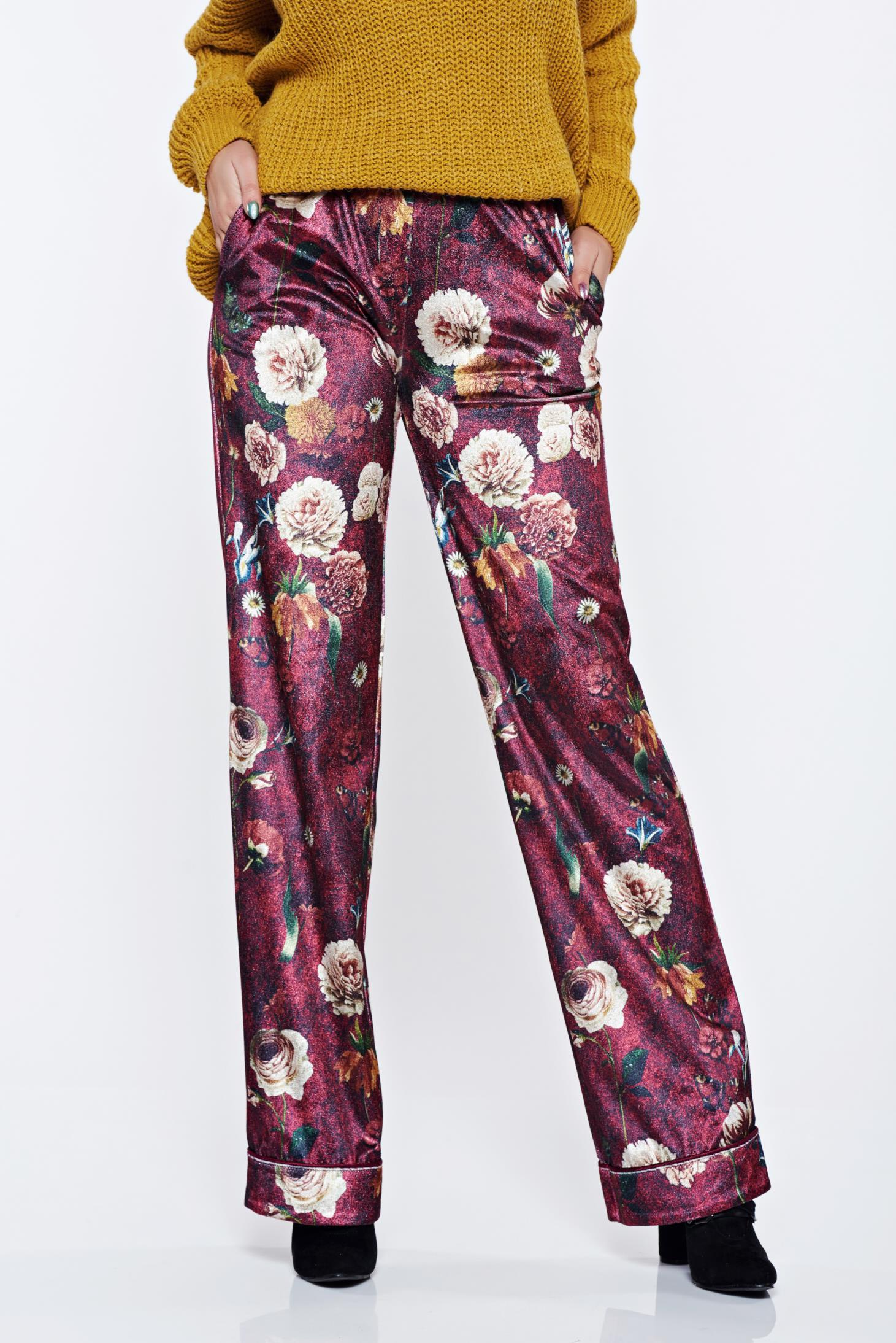 Pantaloni PrettyGirl visinii casual cu talie medie cu imprimeu floral