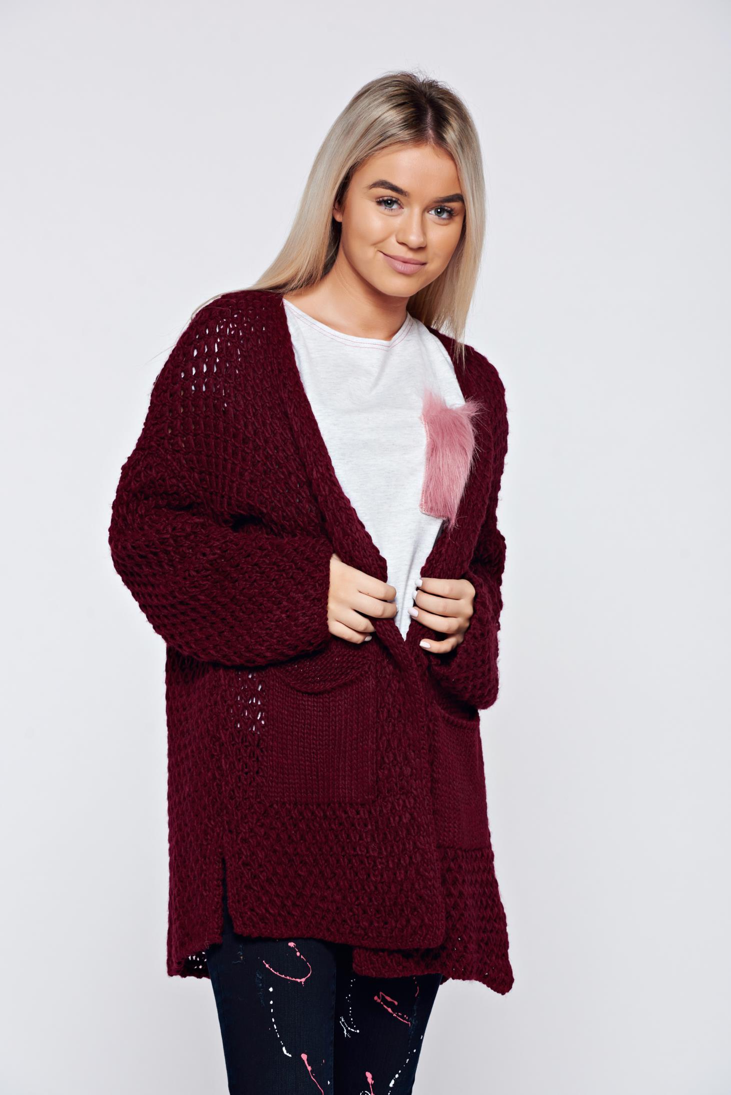 Cardigan visiniu casual tricotat cu buzunare
