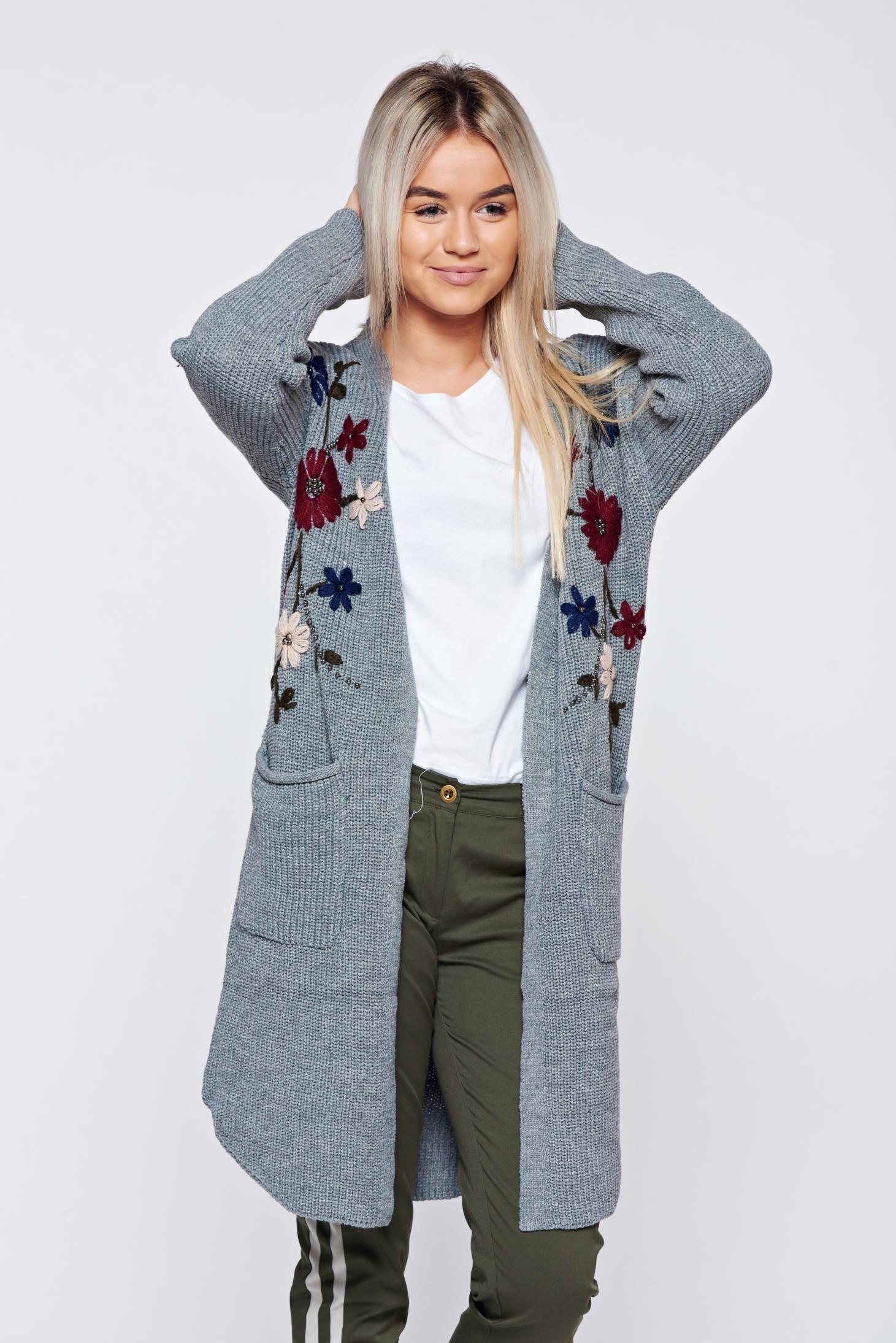 Cardigan gri casual brodat tricotat cu buzunare