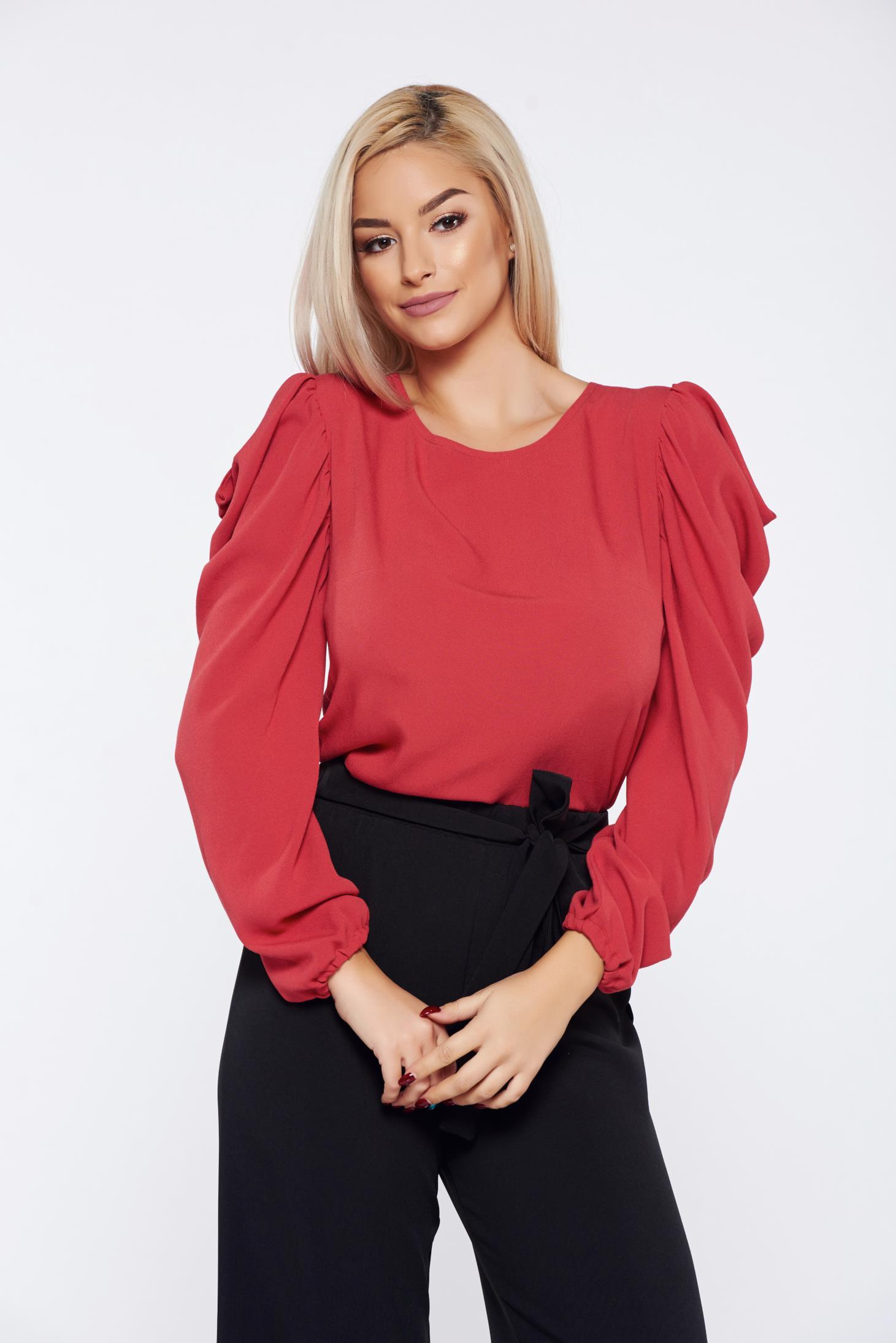 Bluza dama StarShinerS Fall in Love caramizie eleganta cu maneci incretite