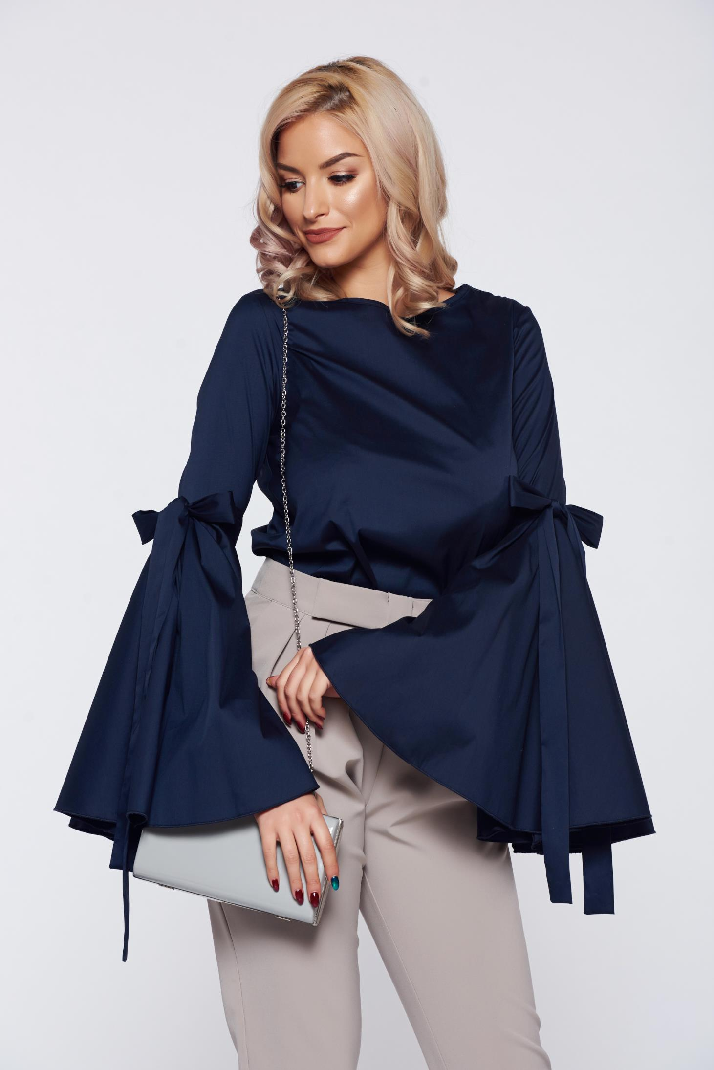 Bluza dama PrettyGirl albastra-inchis eleganta cu maneci clopot
