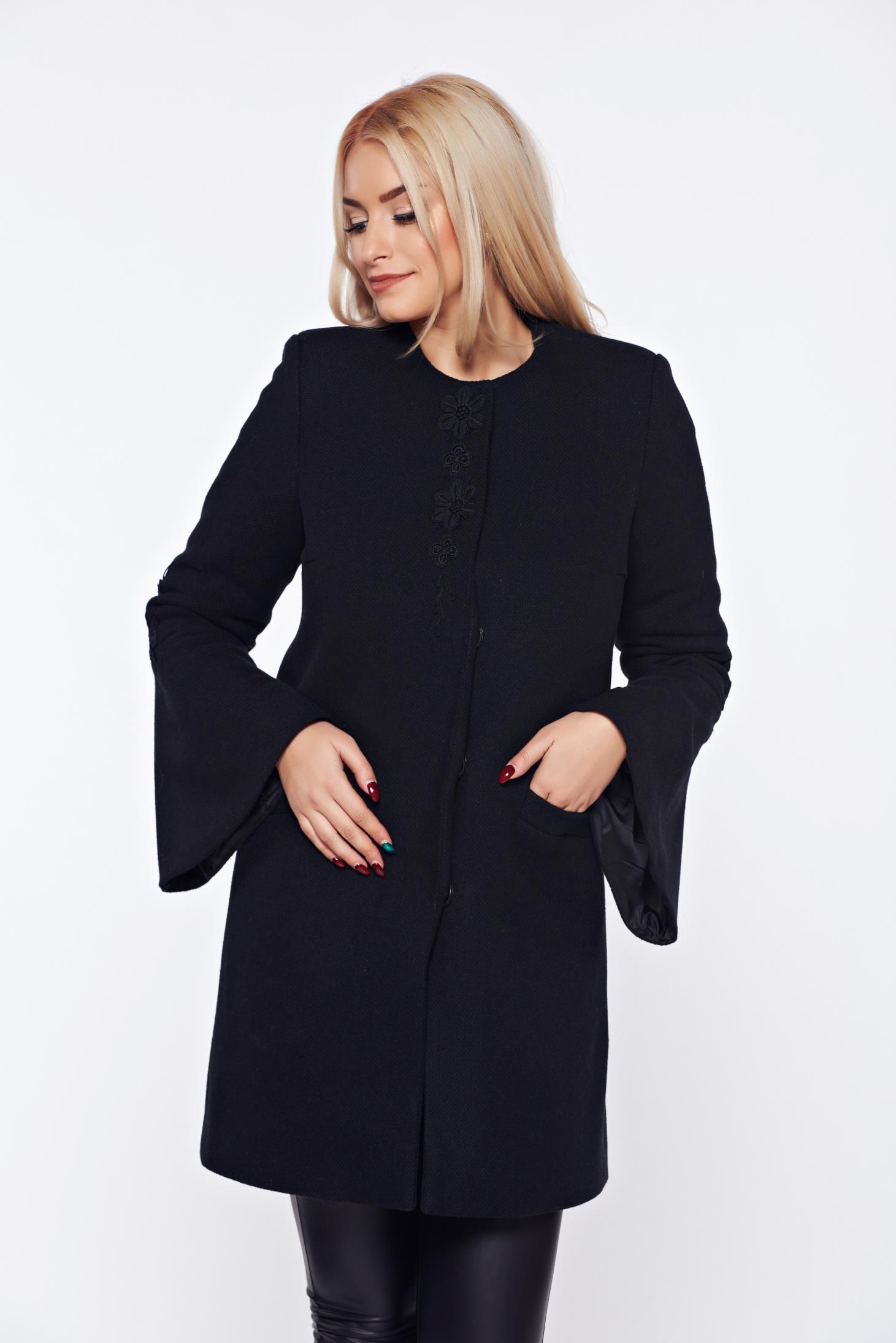 Palton LaDonna negru elegant drept brodat din lana