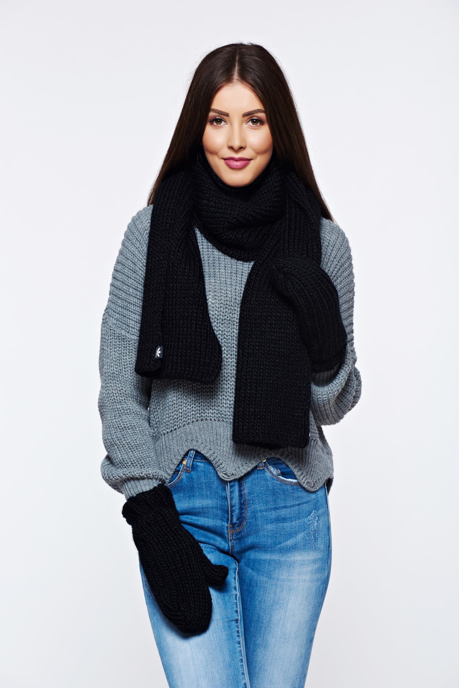 Set fular si manusi Adidas negre din material tricotat