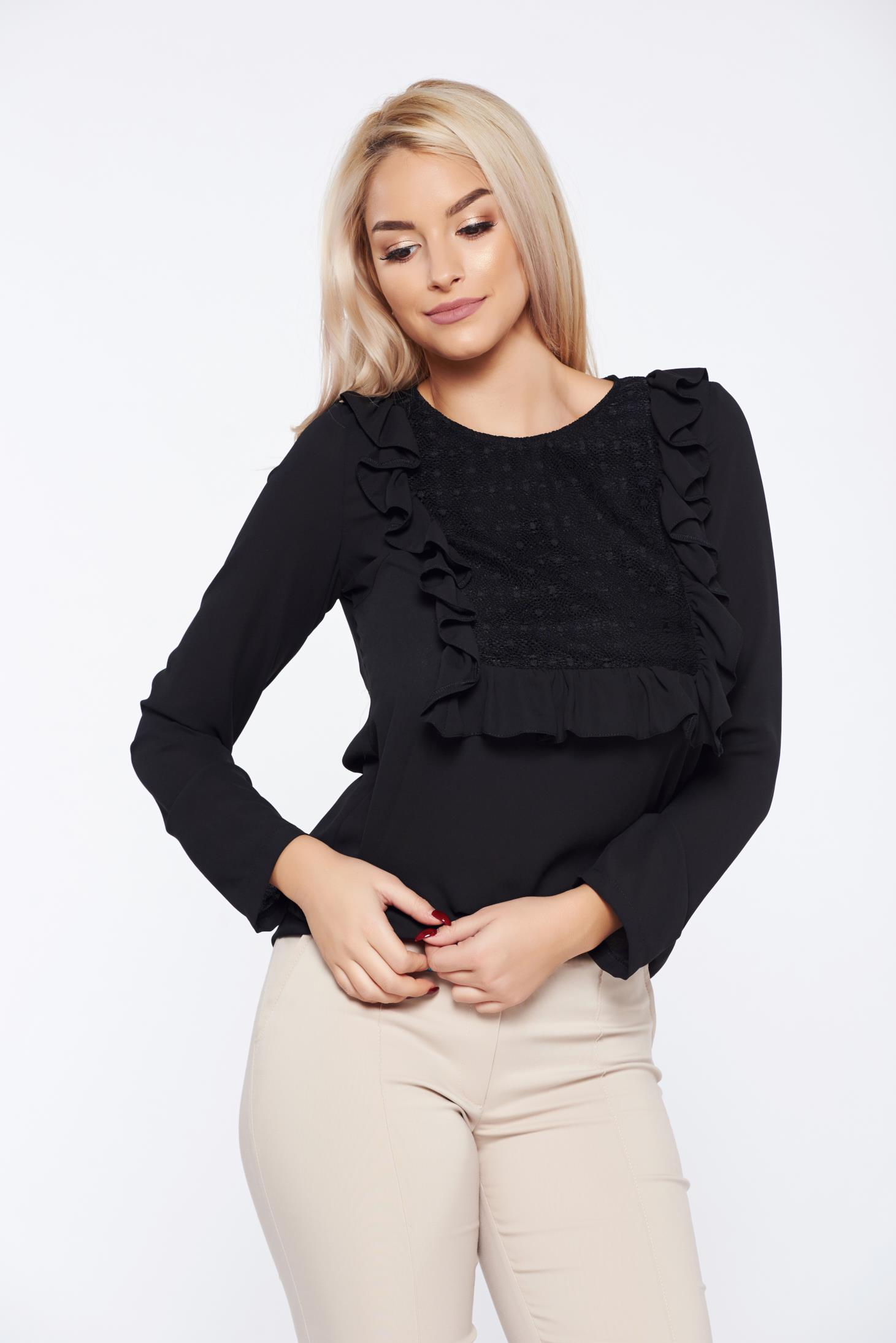 Bluza dama LaDonna neagra office cu aplicatii de dantela cu volanase