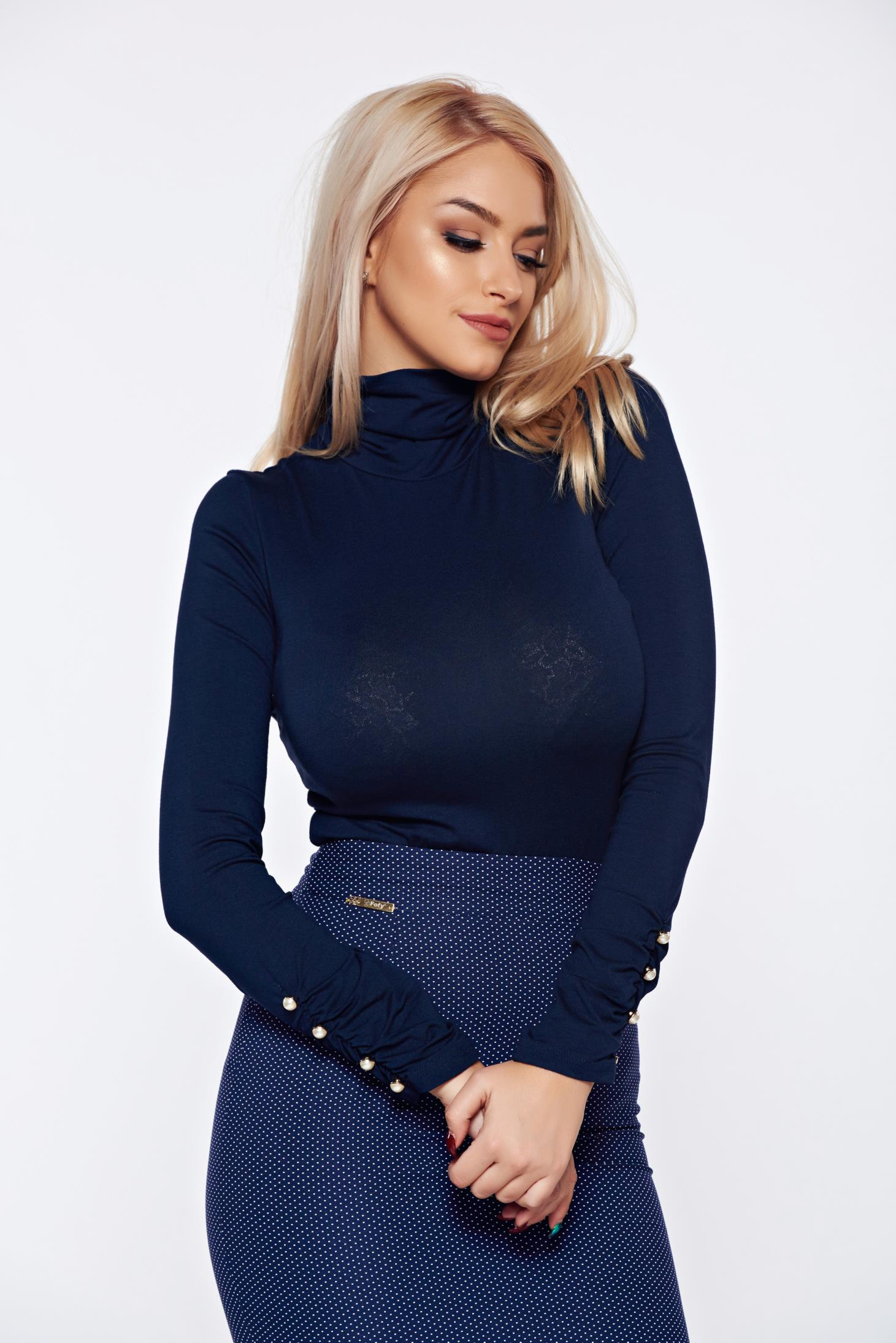 Body PrettyGirl albastru-inchis cu un croi mulat accesorizat cu nasturi