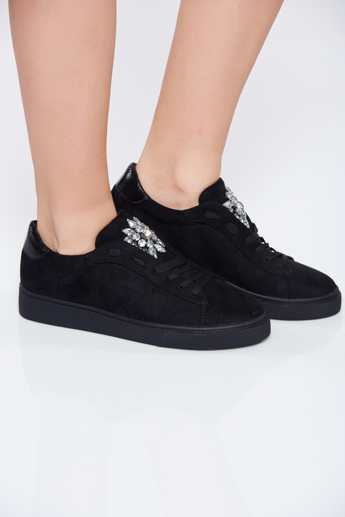 Pantofi sport negri casual cu talpa joasa cu pietre strass