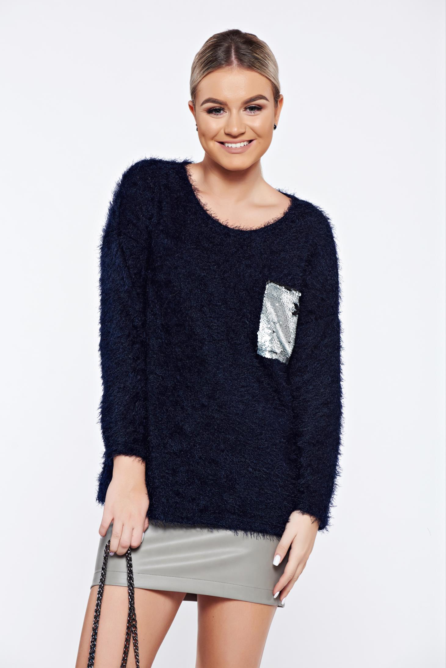 Pulover albastru-inchis casual tricotat aplicatii cu paiete
