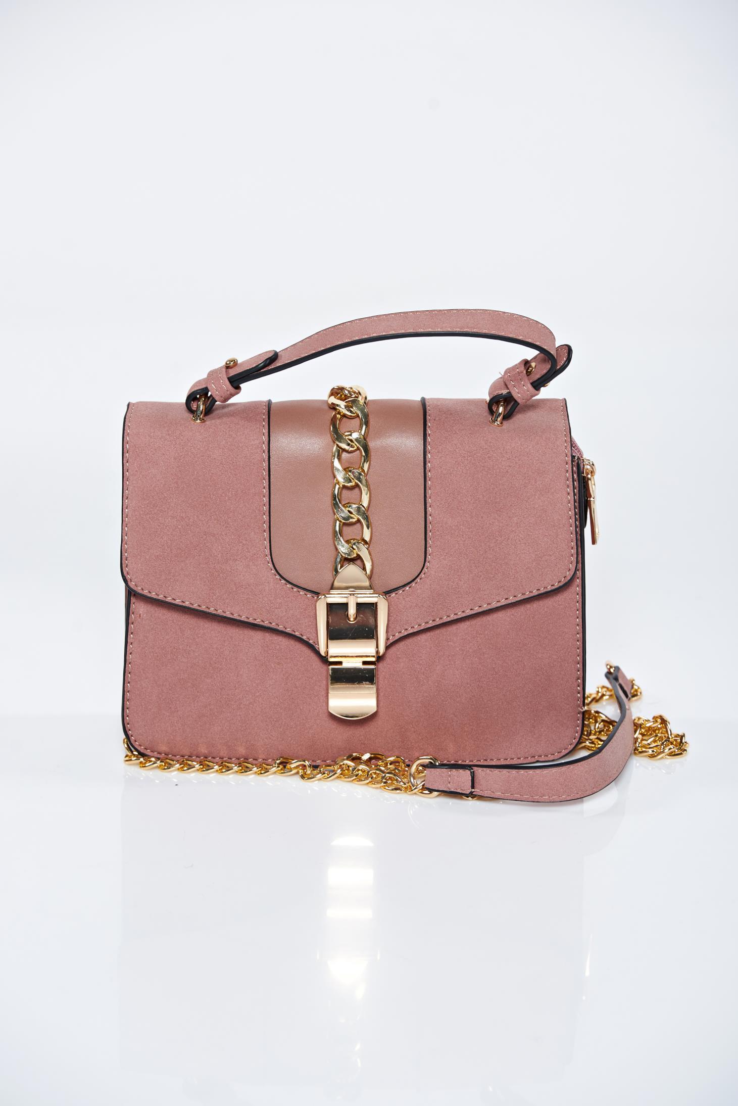 Geanta dama roz casual compartimentata cu buzunare interioare