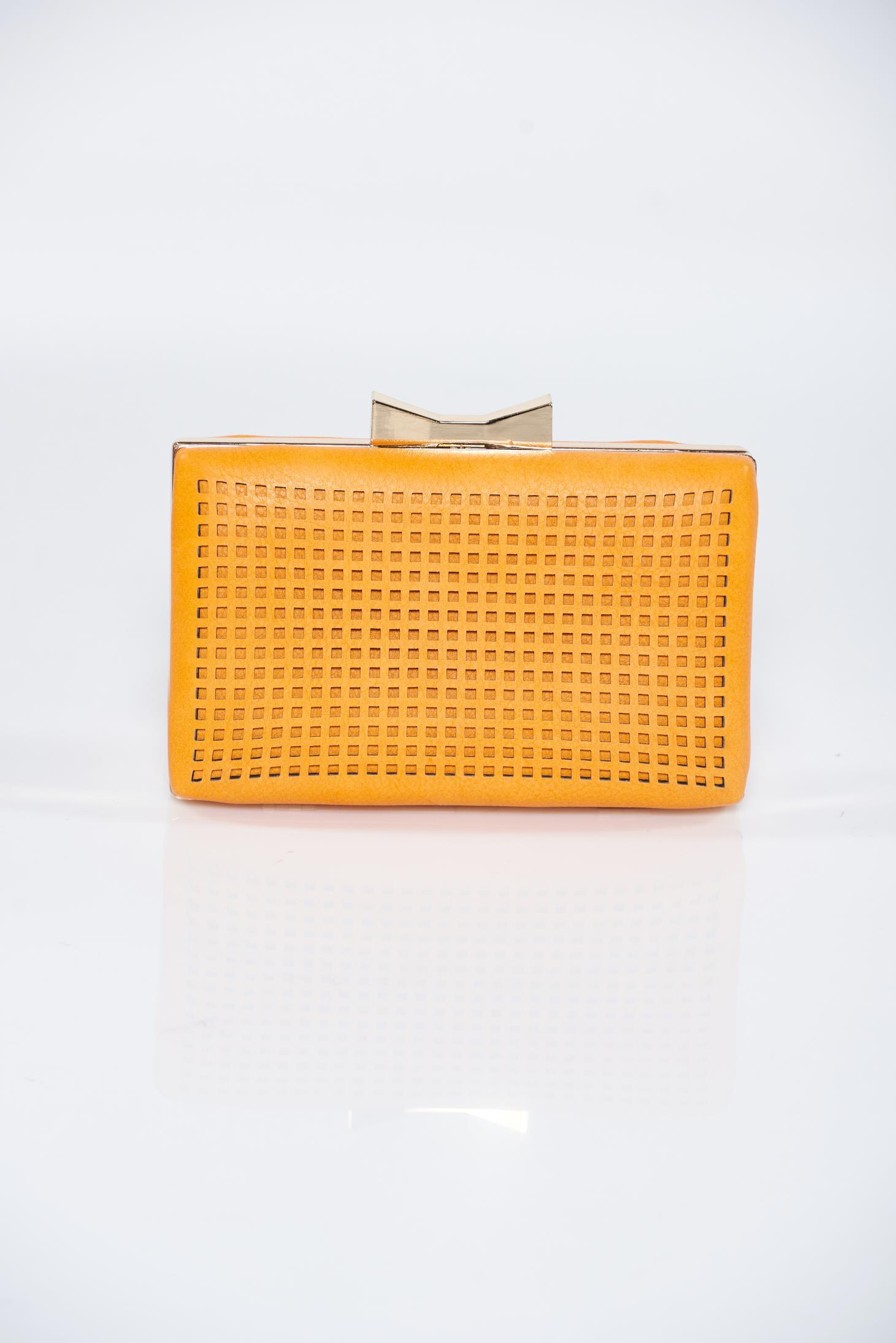 Geanta dama portocalie eleganta din material perforat