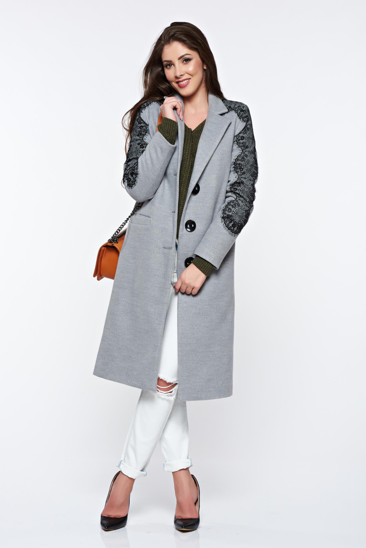 Palton LaDonna gri cu aplicatii de dantela elegant drept captusit pe interior