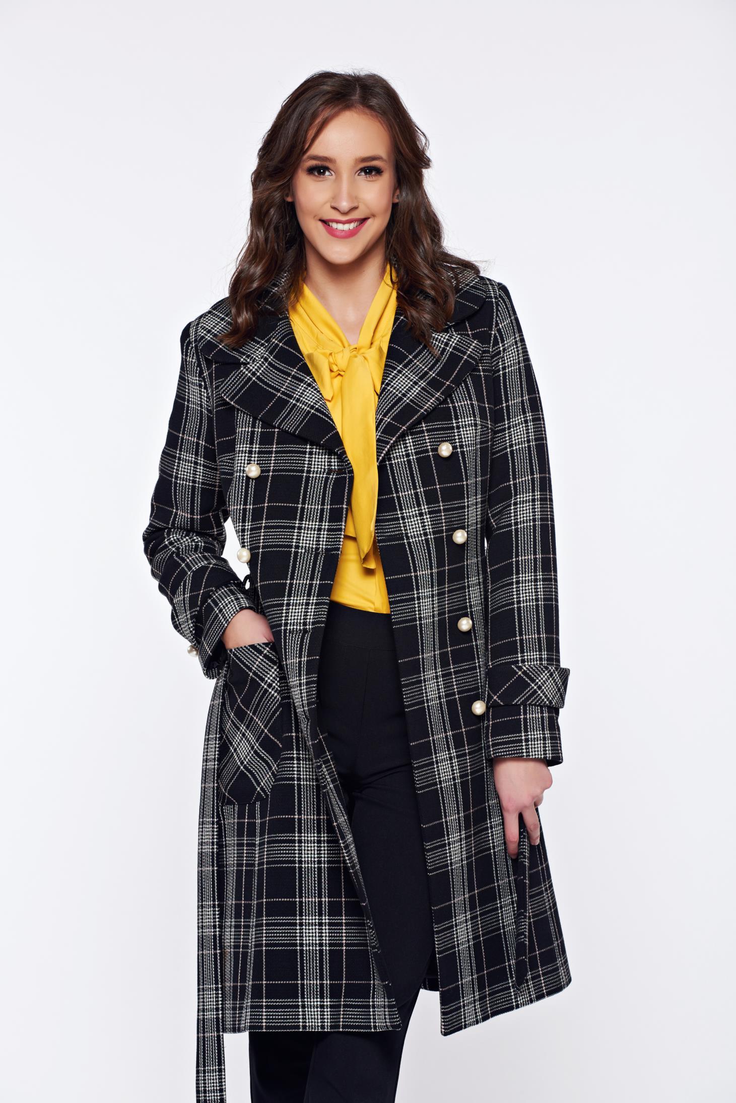 Palton LaDonna negru din lana in carouri cu buzunare
