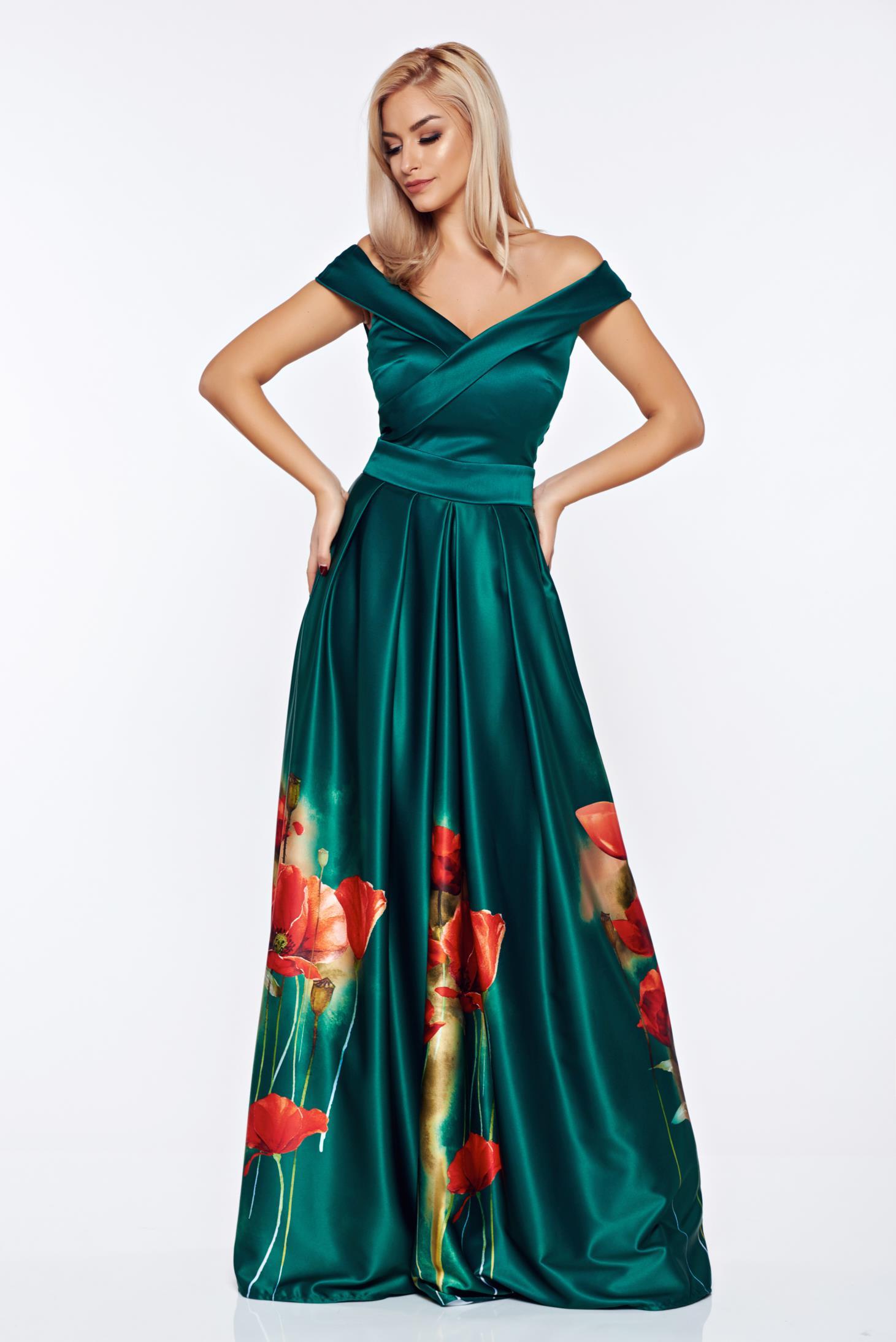 Rochie Artista verde de ocazie din material satinat cu imprimeuri florale