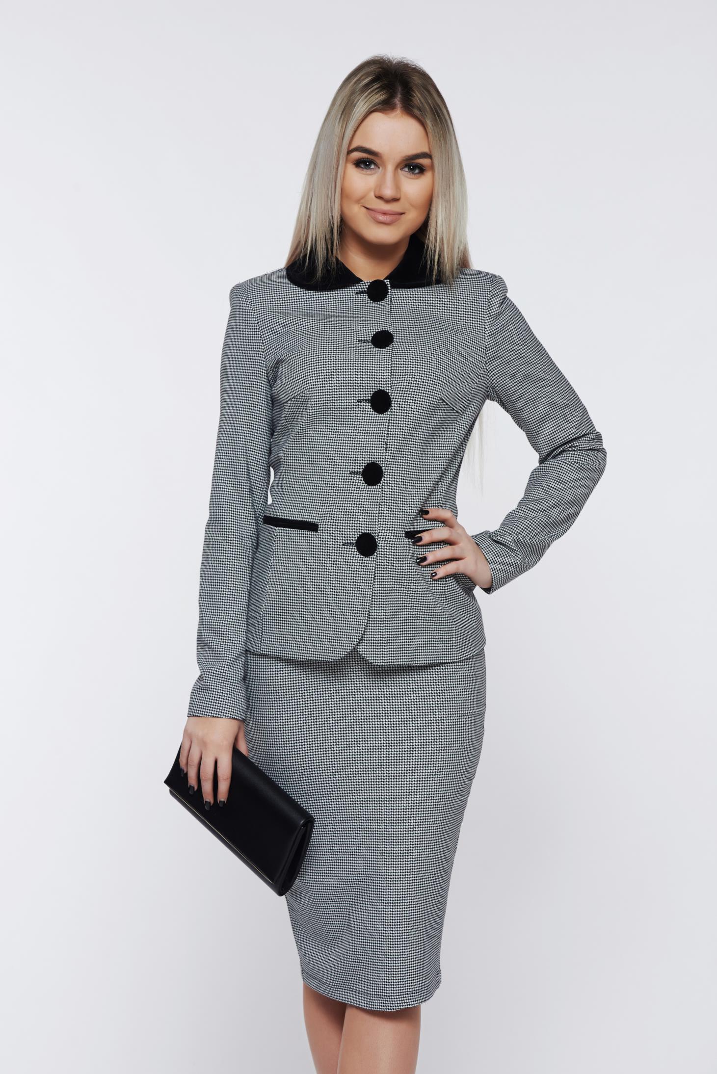 Costum damă LaDonna gri office cu print captusit pe interior