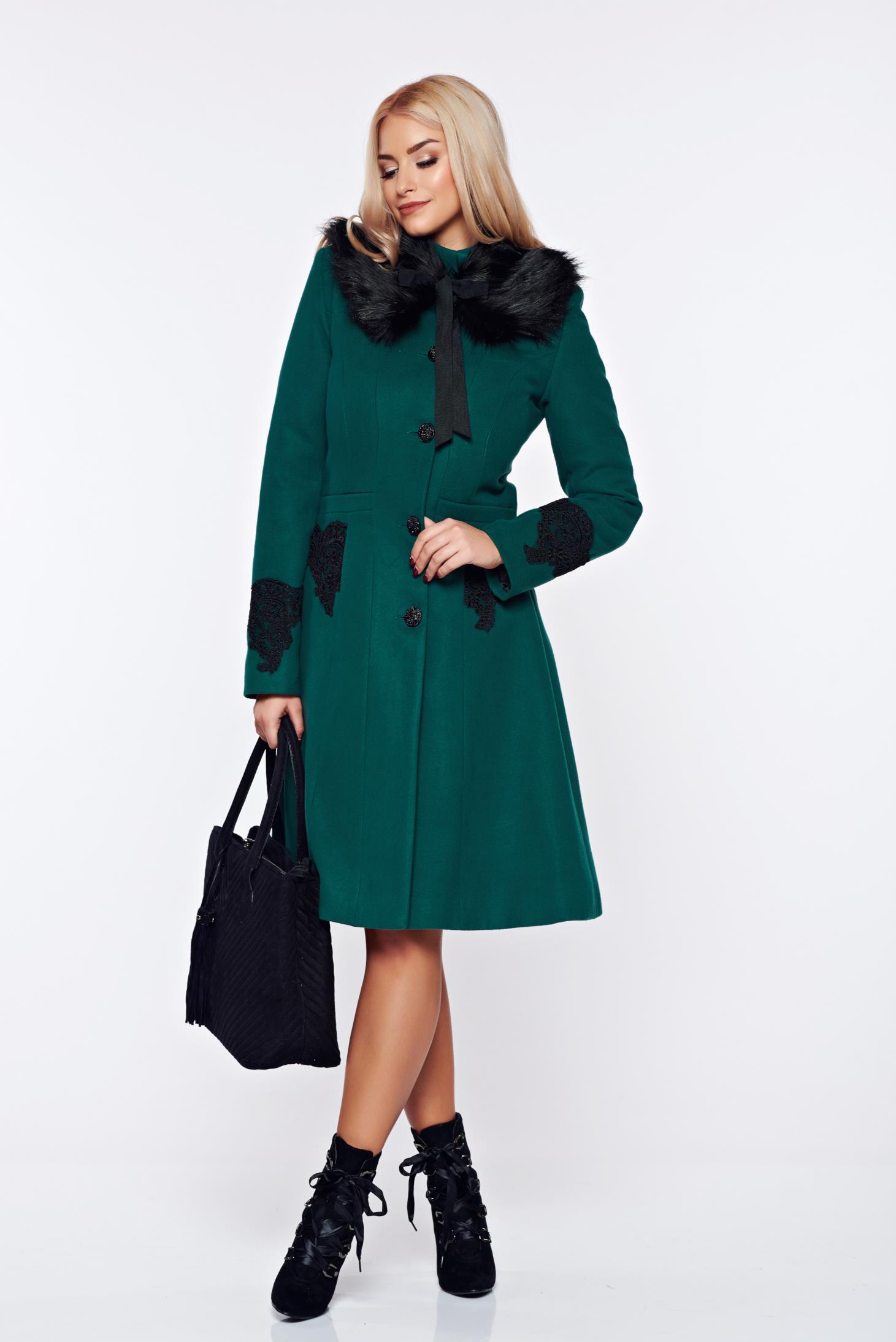 Palton LaDonna verde best impulse elegant din lana brodat captusit pe interior