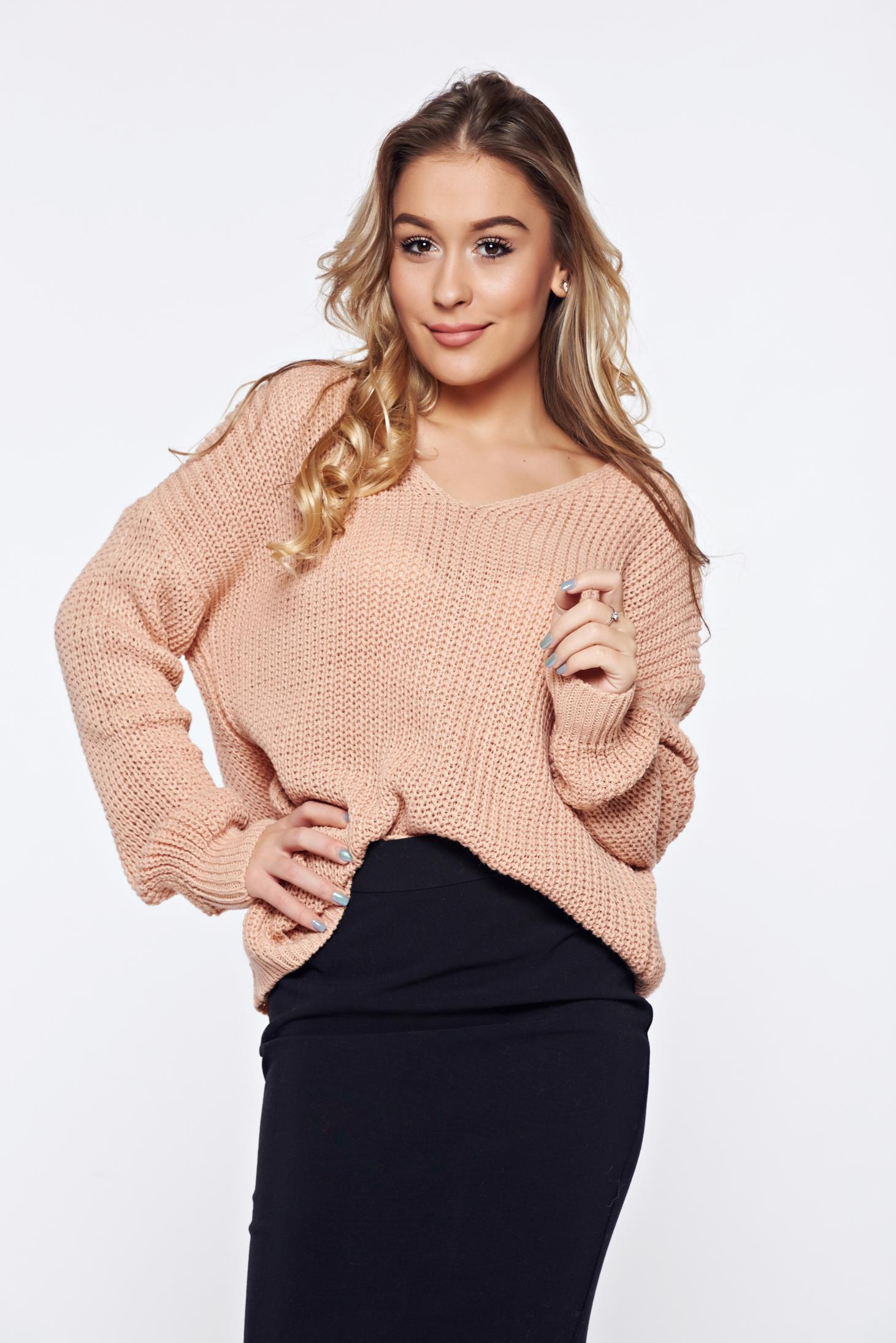 Pulover rosa casual tricotat cu spatele decupat accesorizat cu snur