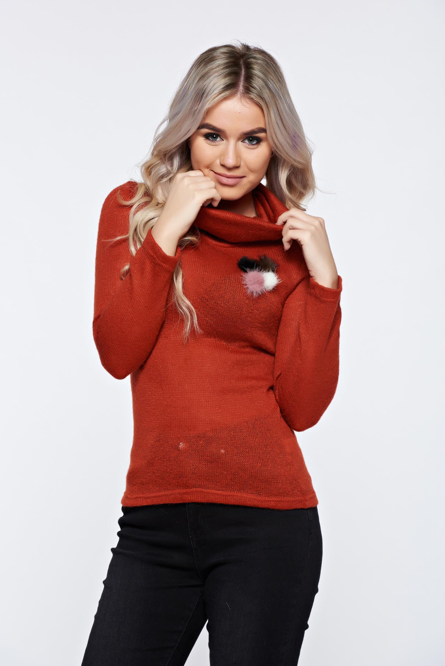 Pulover PrettyGirl maro casual tricotat pe gat
