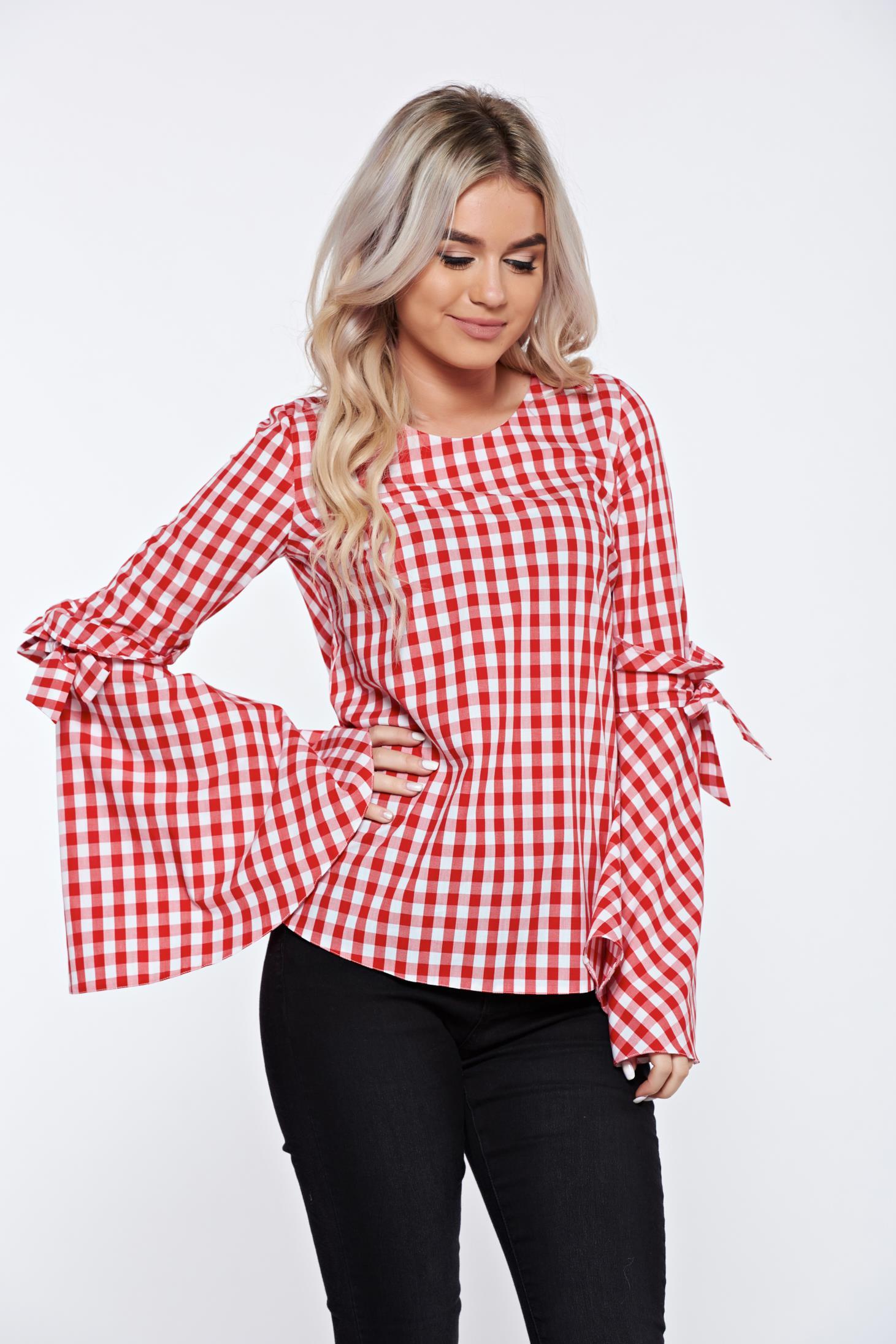 Bluza dama LaDonna rosie cu dungi din bumbac cu croi larg cu maneci clopot