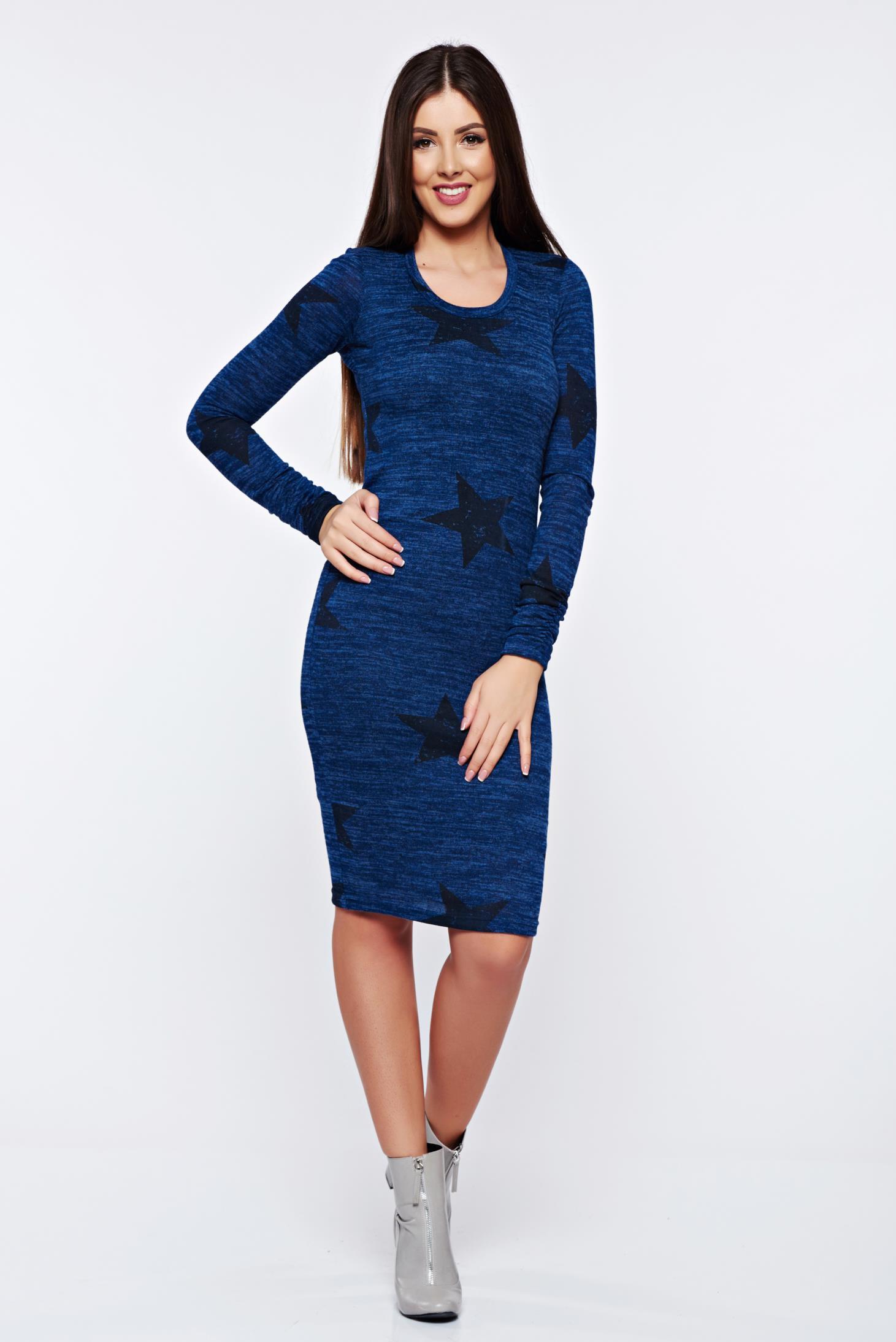 Rochie PrettyGirl albastra-inchis casual tip creion tricotata cu print