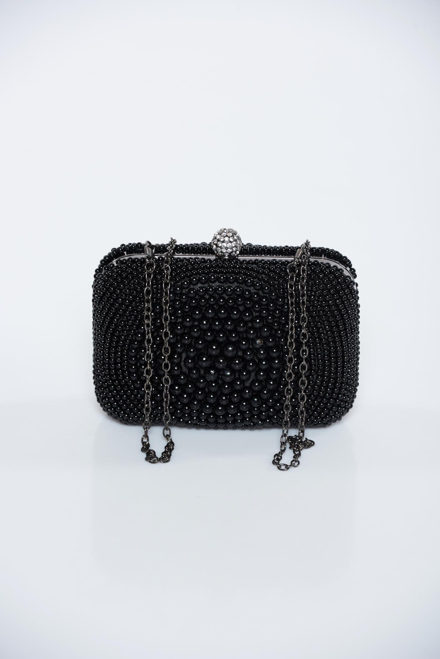 Geanta dama neagra de ocazie cu aplicatii cu perle accesorizata cu lantisor