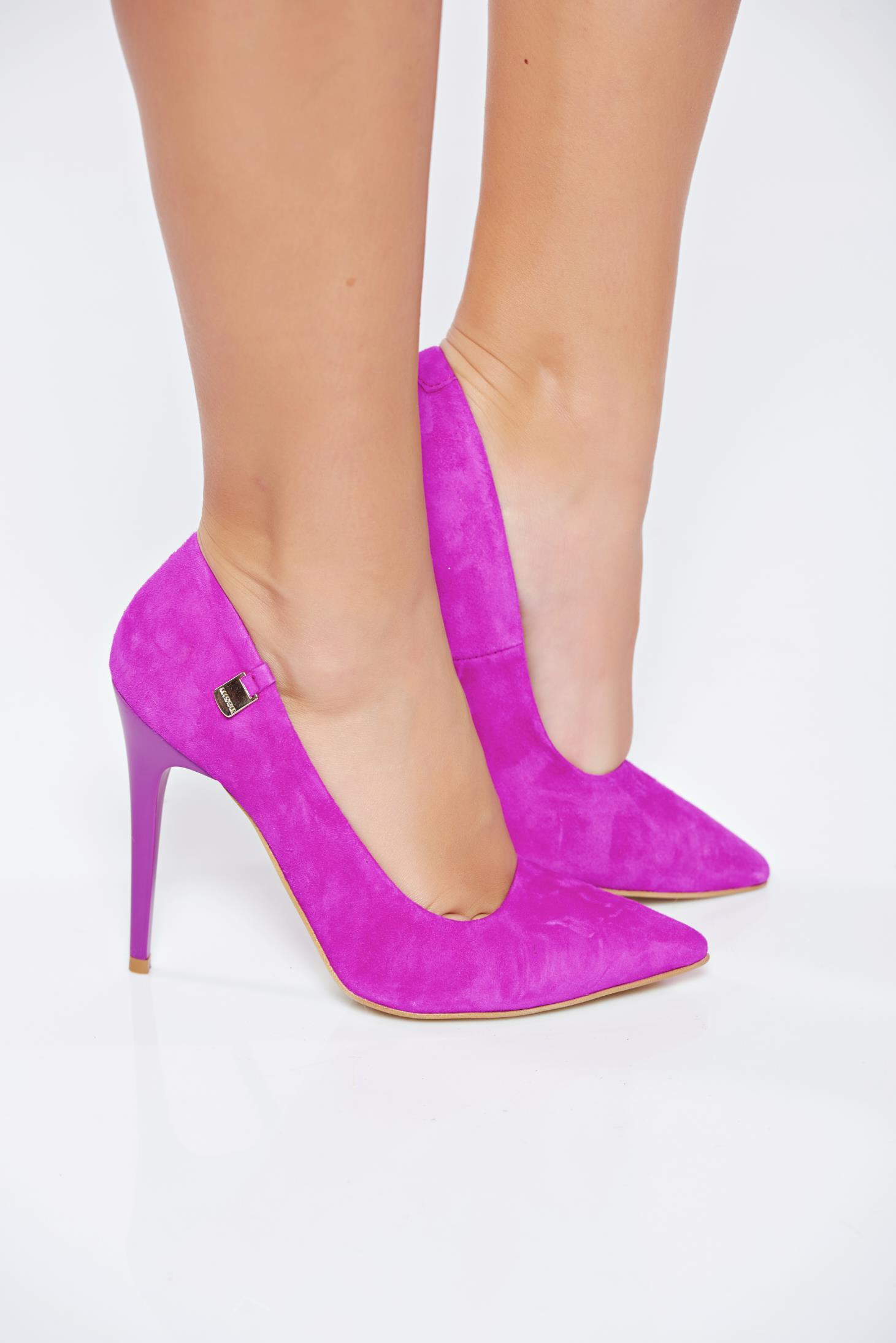 Pantofi stiletto MissQ fuchsia din piele naturala intoarsa cu toc inalt