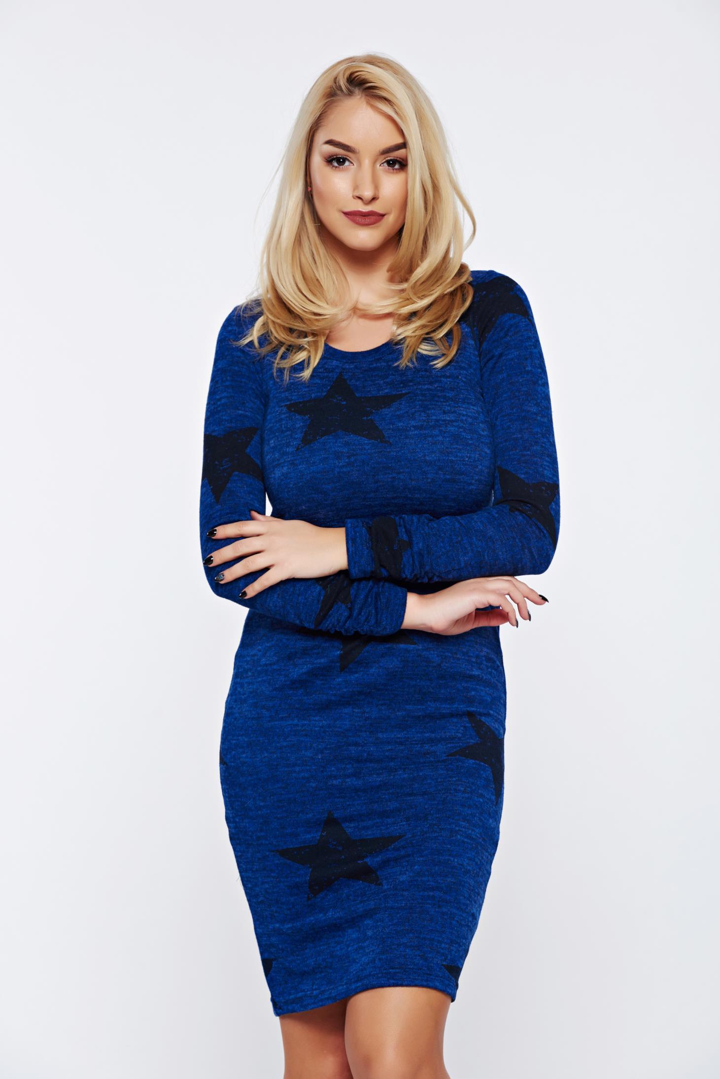 Rochie PrettyGirl albastra casual tip creion tricotata cu print