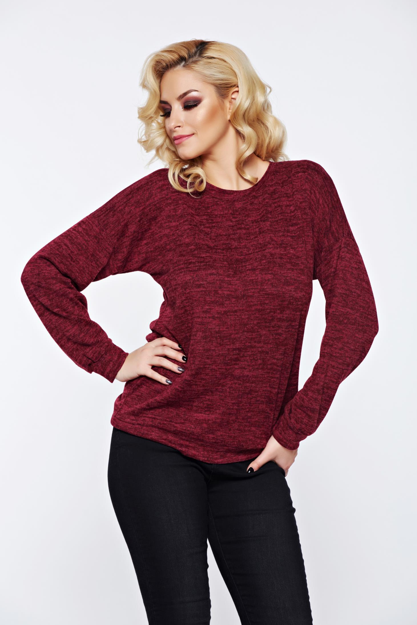 Pulover PrettyGirl visiniu cu print casual tricotat cu croi larg