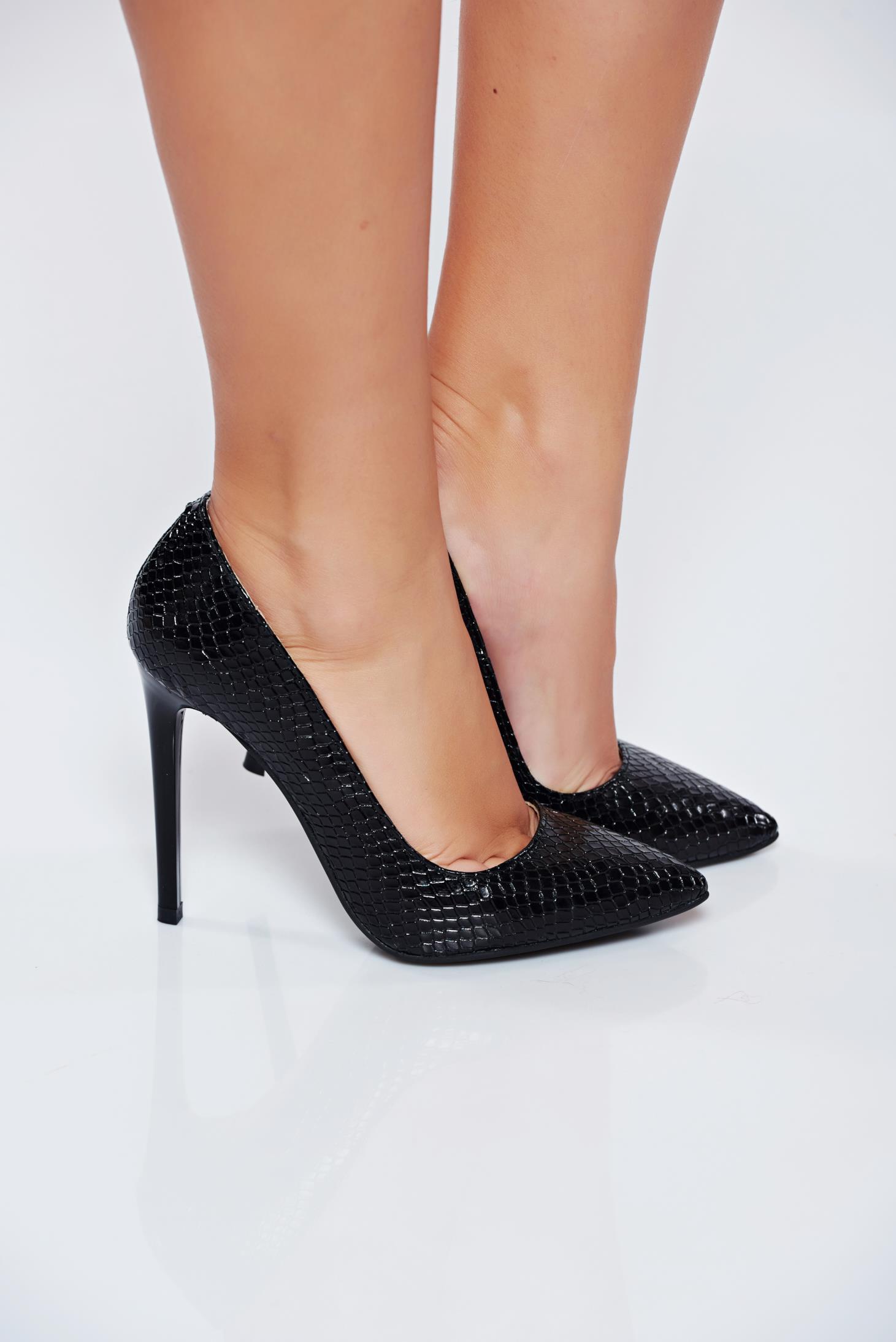 Pantofi stiletto negri din piele naturala elegant cu toc inalt