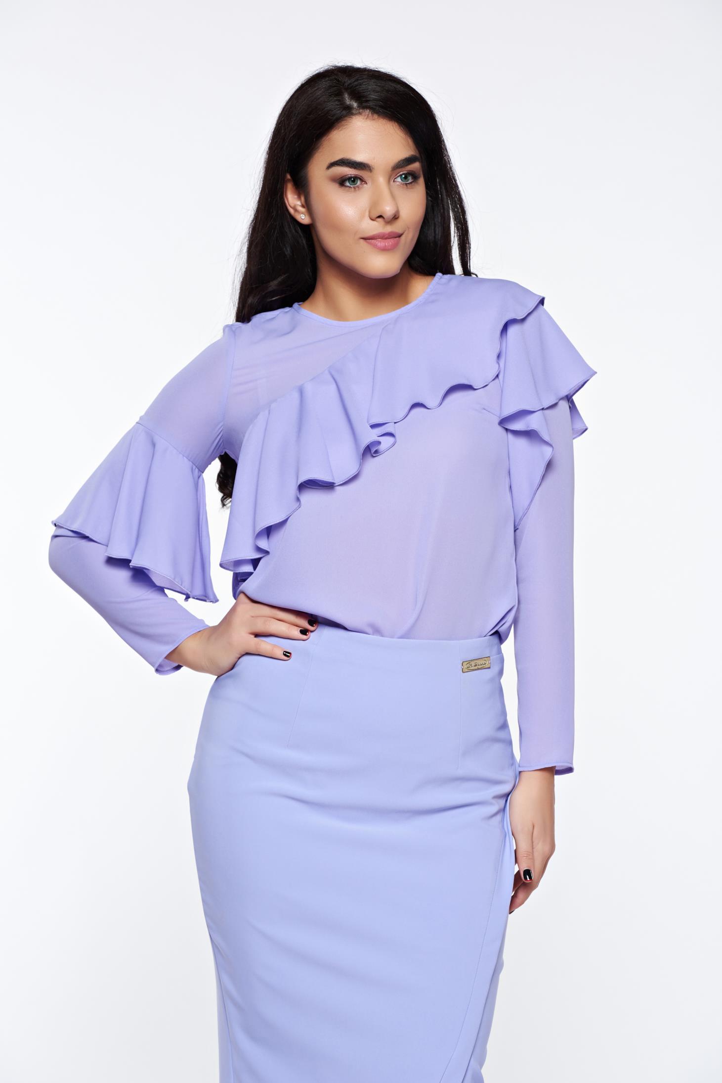 Bluza dama LaDonna lila eleganta cu croi larg din material vaporos cu volanase
