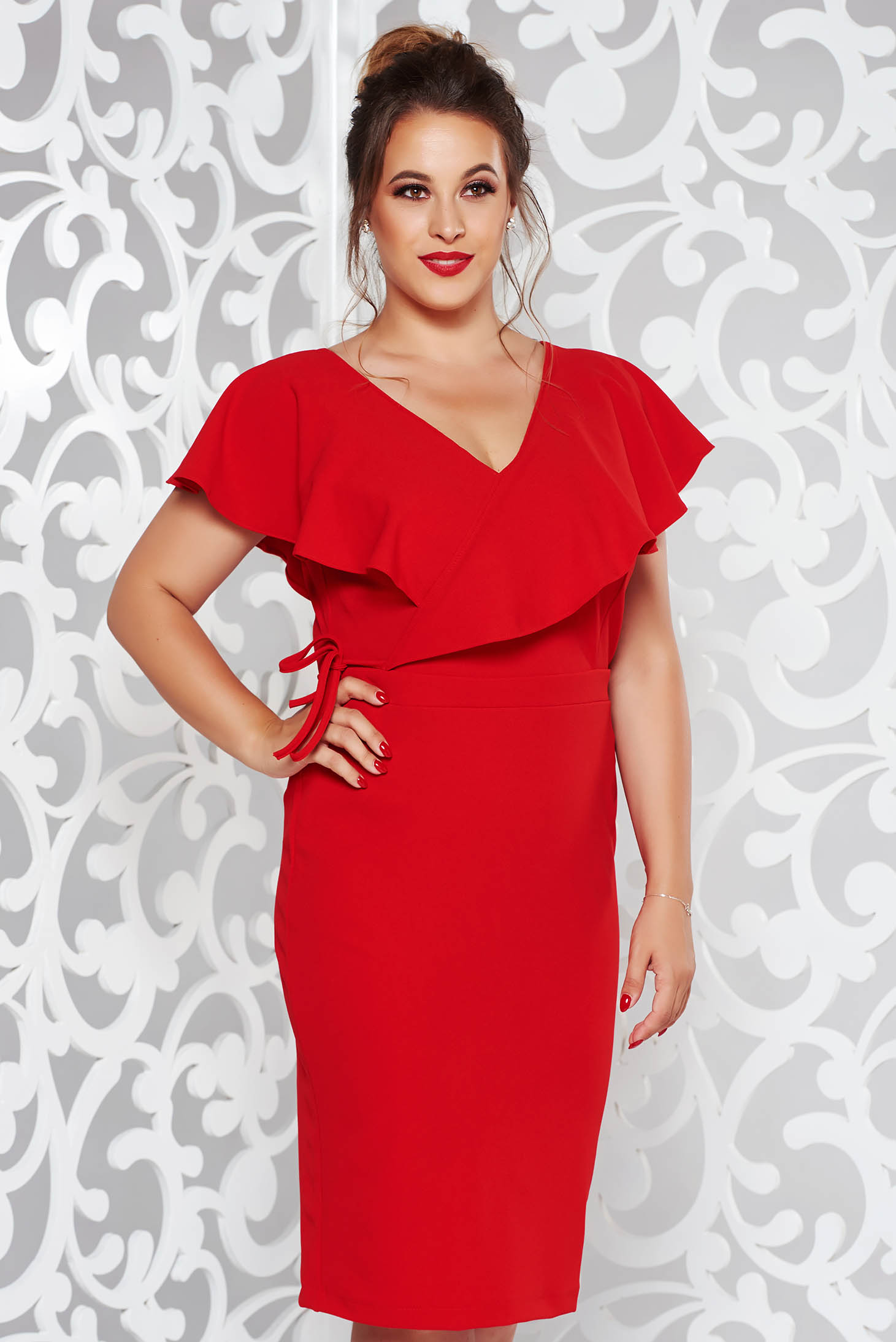 StarShinerS red elegant pencil dress from elastic fabric with v-neckline